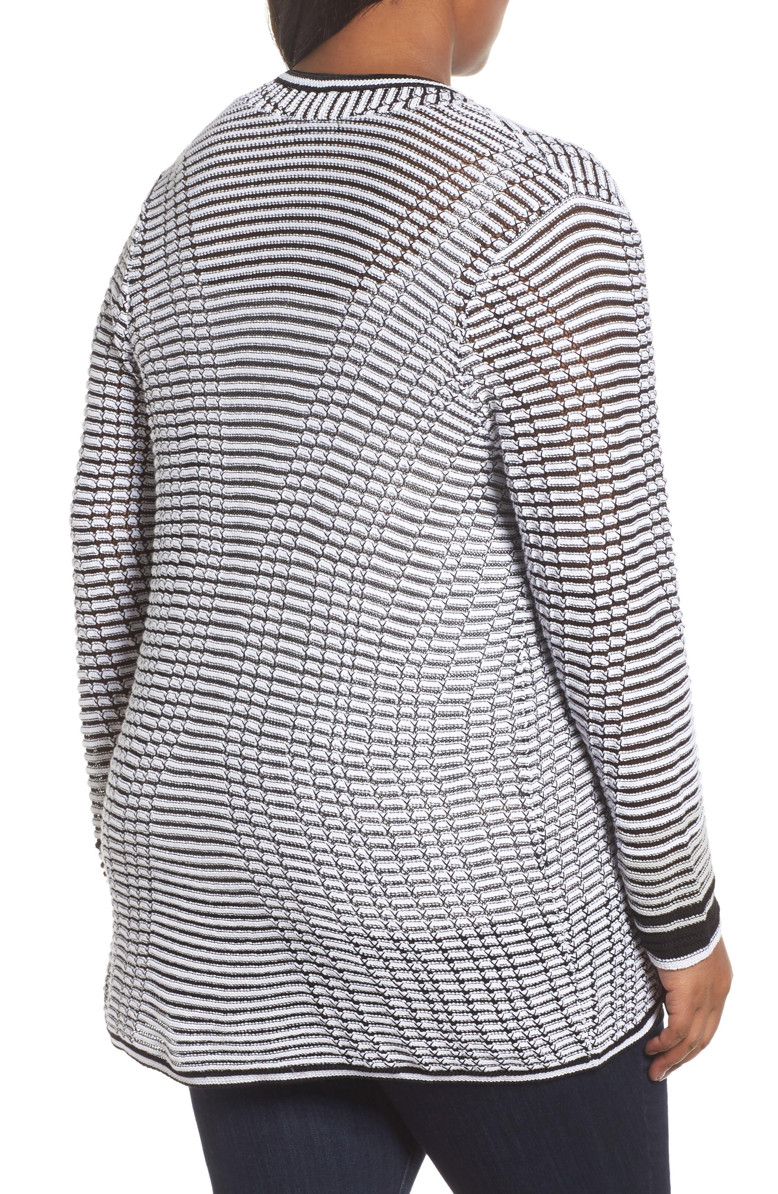 Alternate Image 2  - NIC+ZOE Striped Space Cardigan (Plus Size)