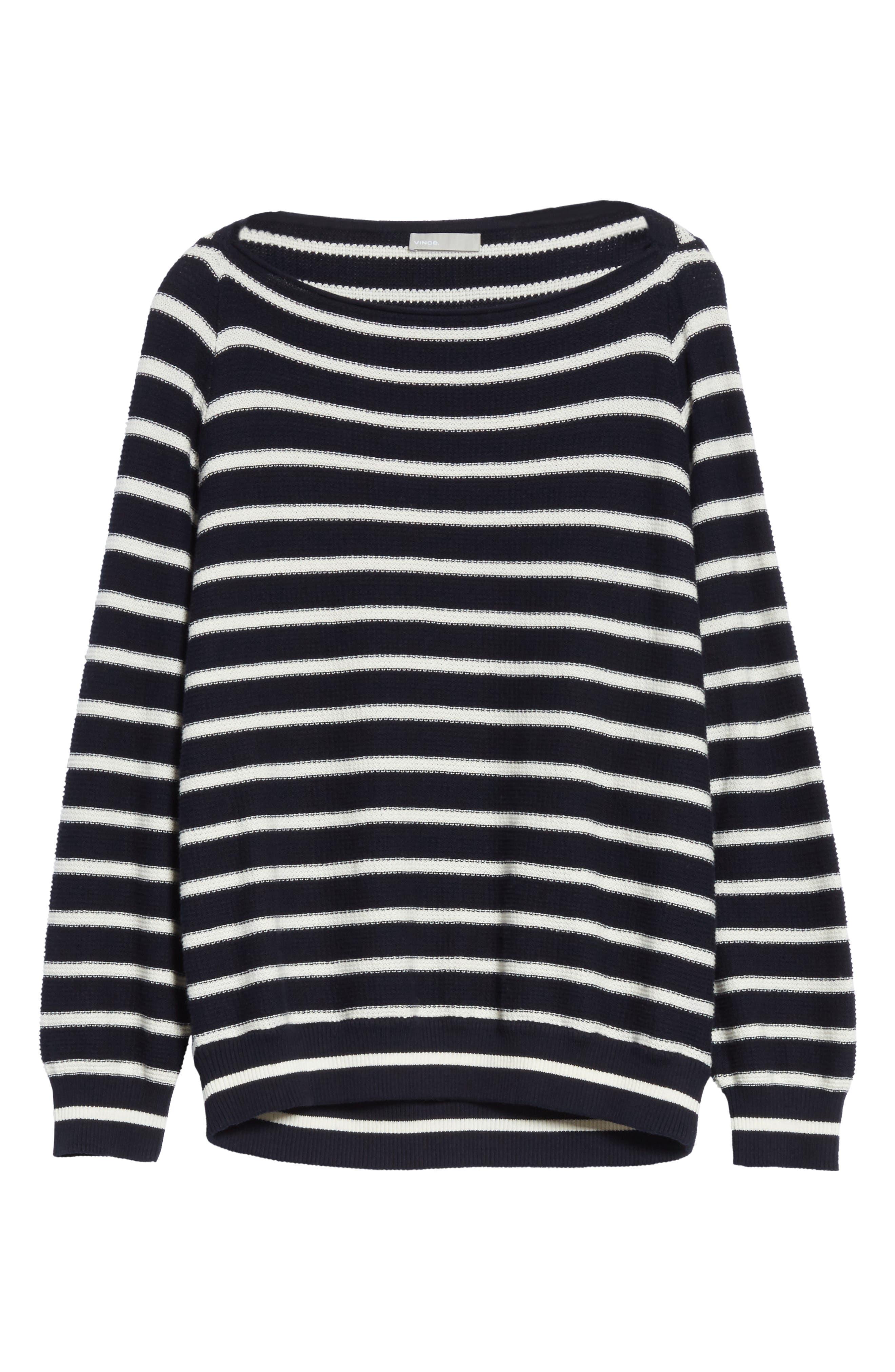 Stripe Waffle Knit Top,                             Alternate thumbnail 6, color,                             Coastal/ Optic White
