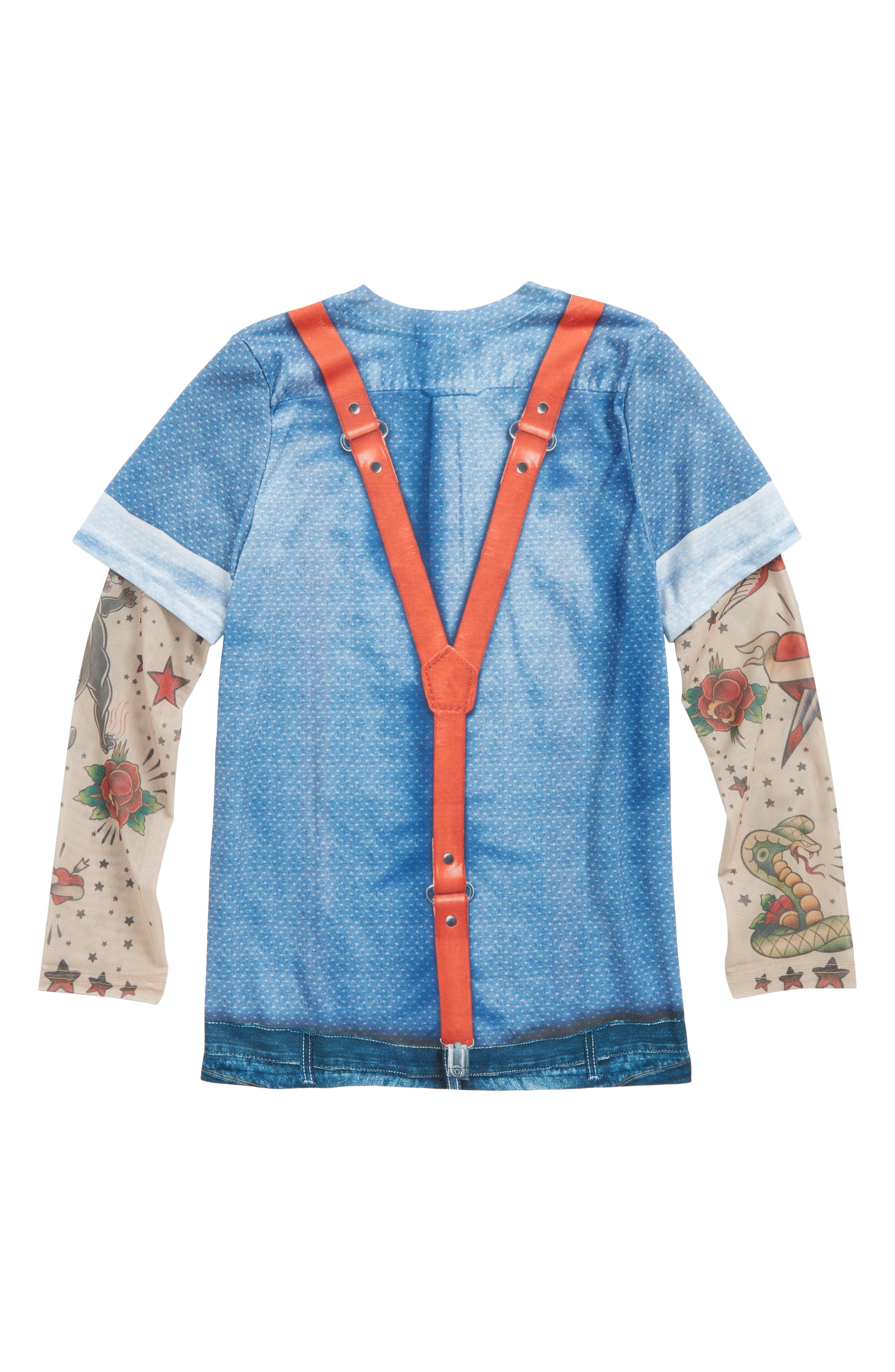 Hipster Tie & Suspenders T-Shirt with Tattoo Print Sleeves,                             Alternate thumbnail 3, color,                             Blue/ Red