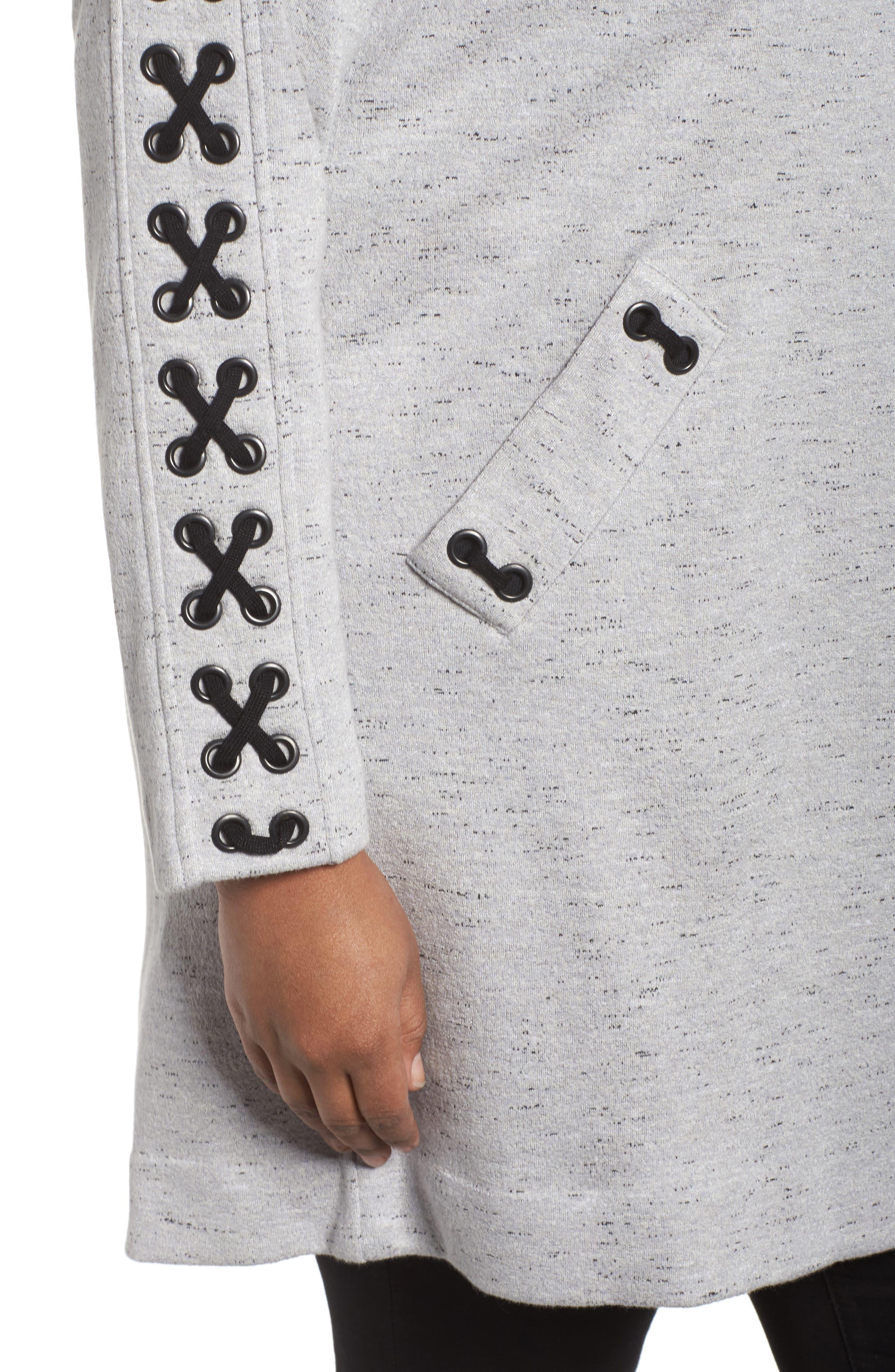 Crisscross Detail Knit Jacket,                             Alternate thumbnail 4, color,                             Granite