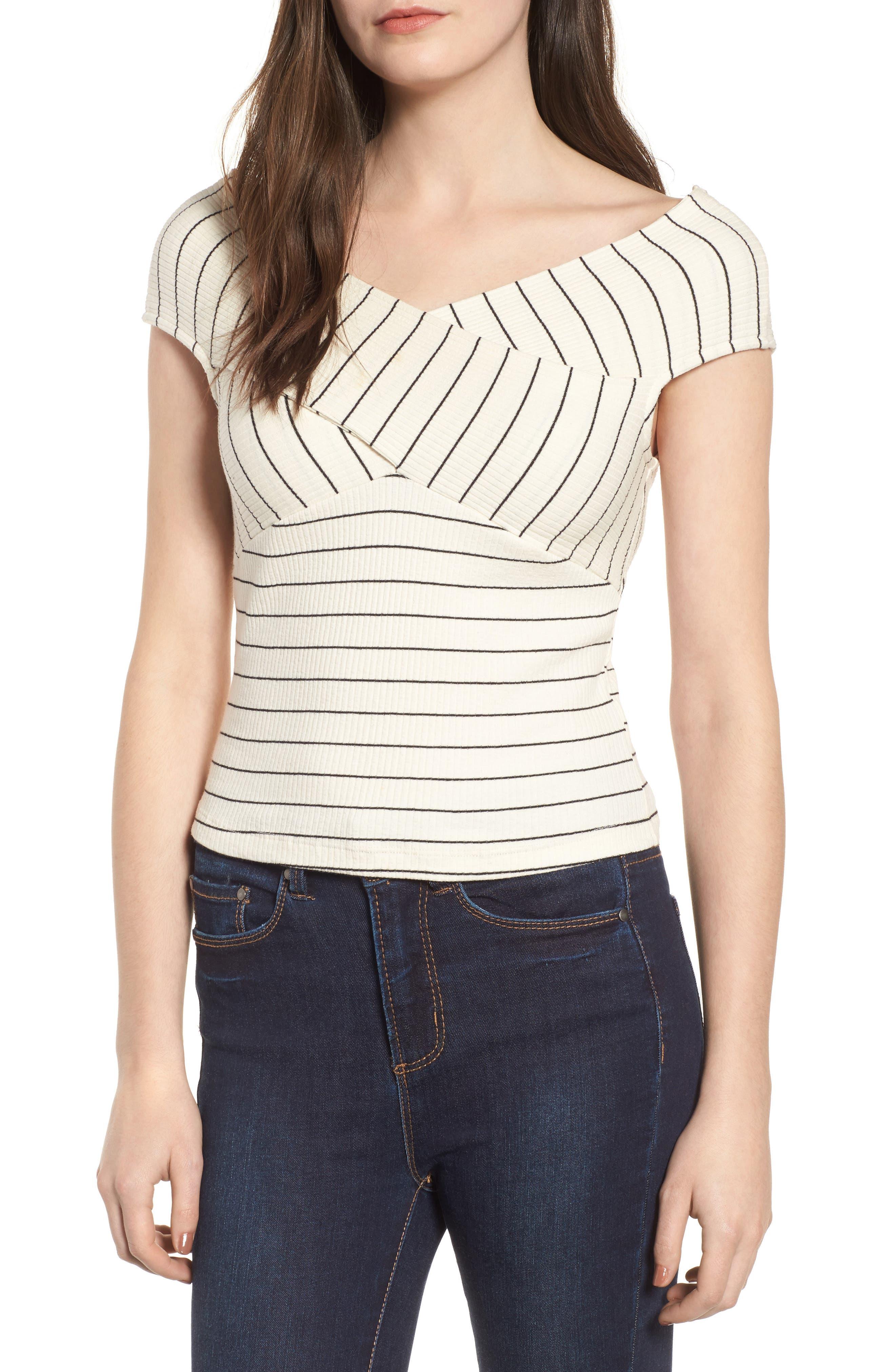 Crisscross Off the Shoulder Top,                         Main,                         color, Ivory/ Black