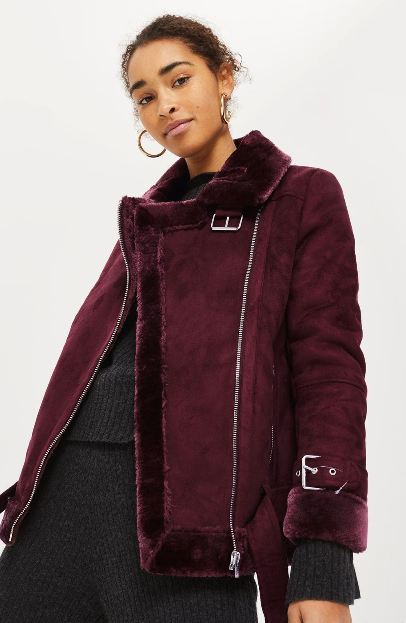 Alternate Image 3  - Topshop Cooper Faux Shearling Biker Jacket