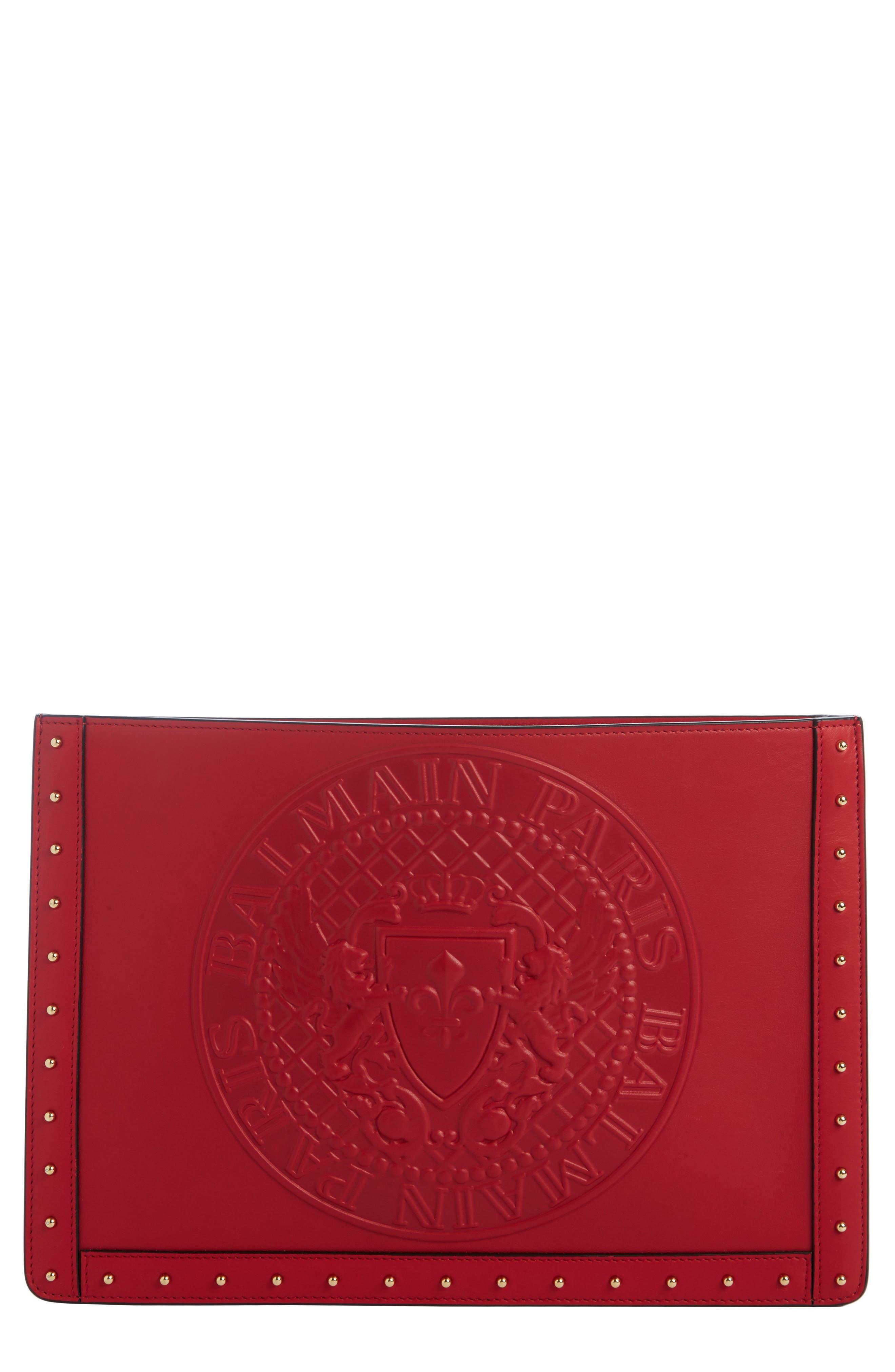 Mini Domaine Embossed Coin Calfskin Bag,                             Main thumbnail 1, color,                             Rouge