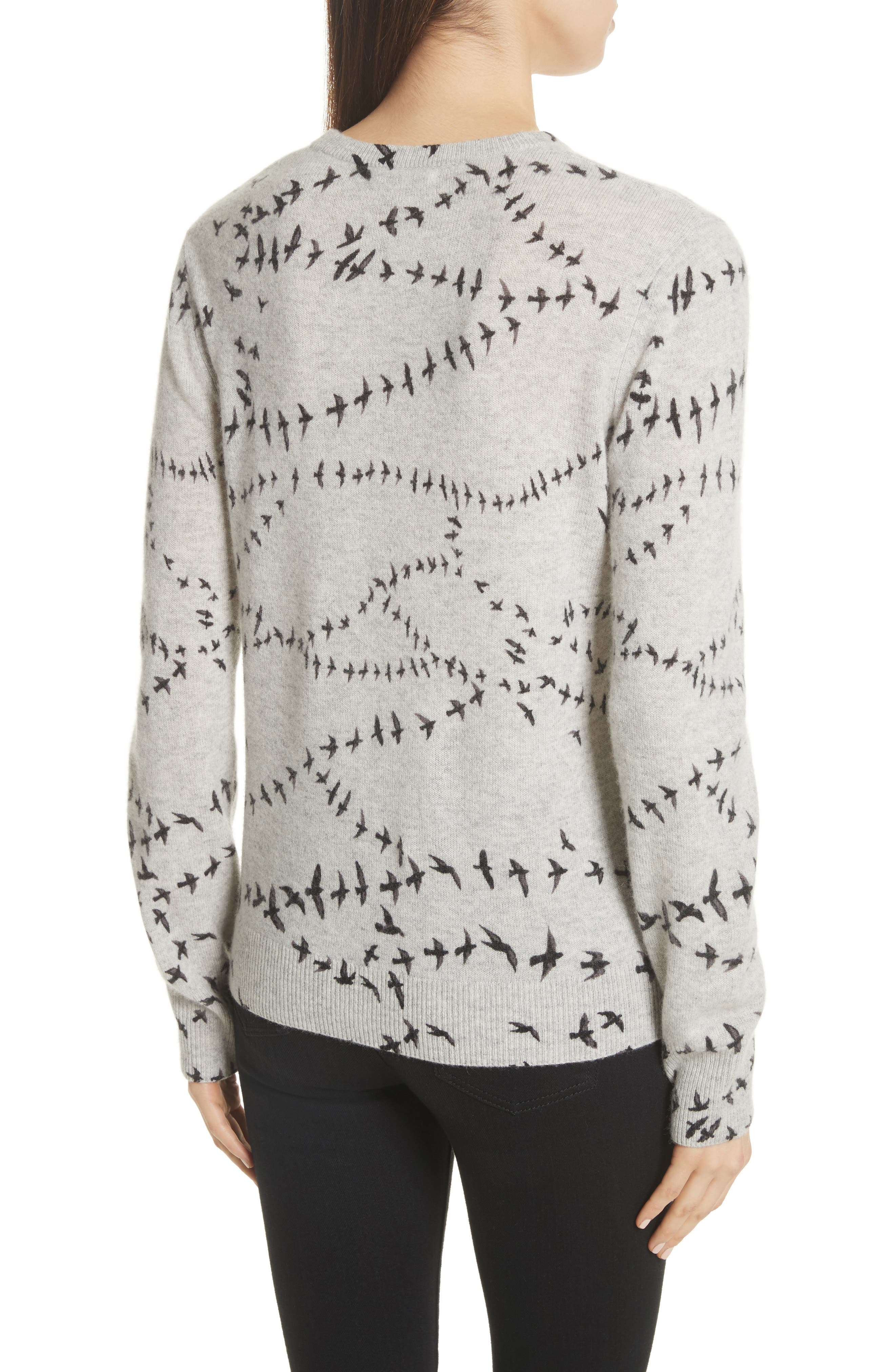 Shane Bird Print Cashmere Sweater,                             Alternate thumbnail 2, color,                             Light Heather Grey Multi