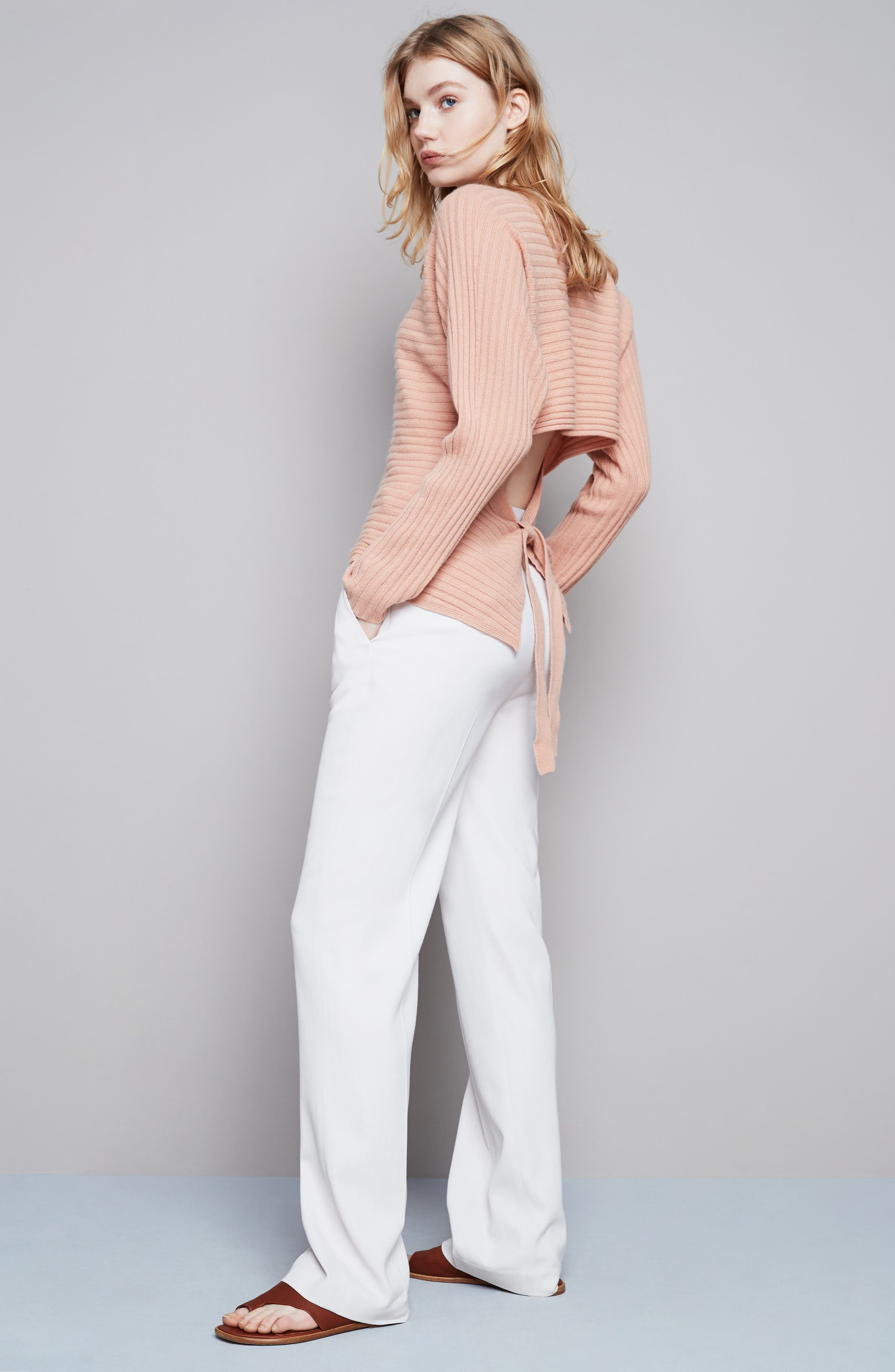 Tie Back Wool & Cashmere Sweater,                             Alternate thumbnail 7, color,                             Blush