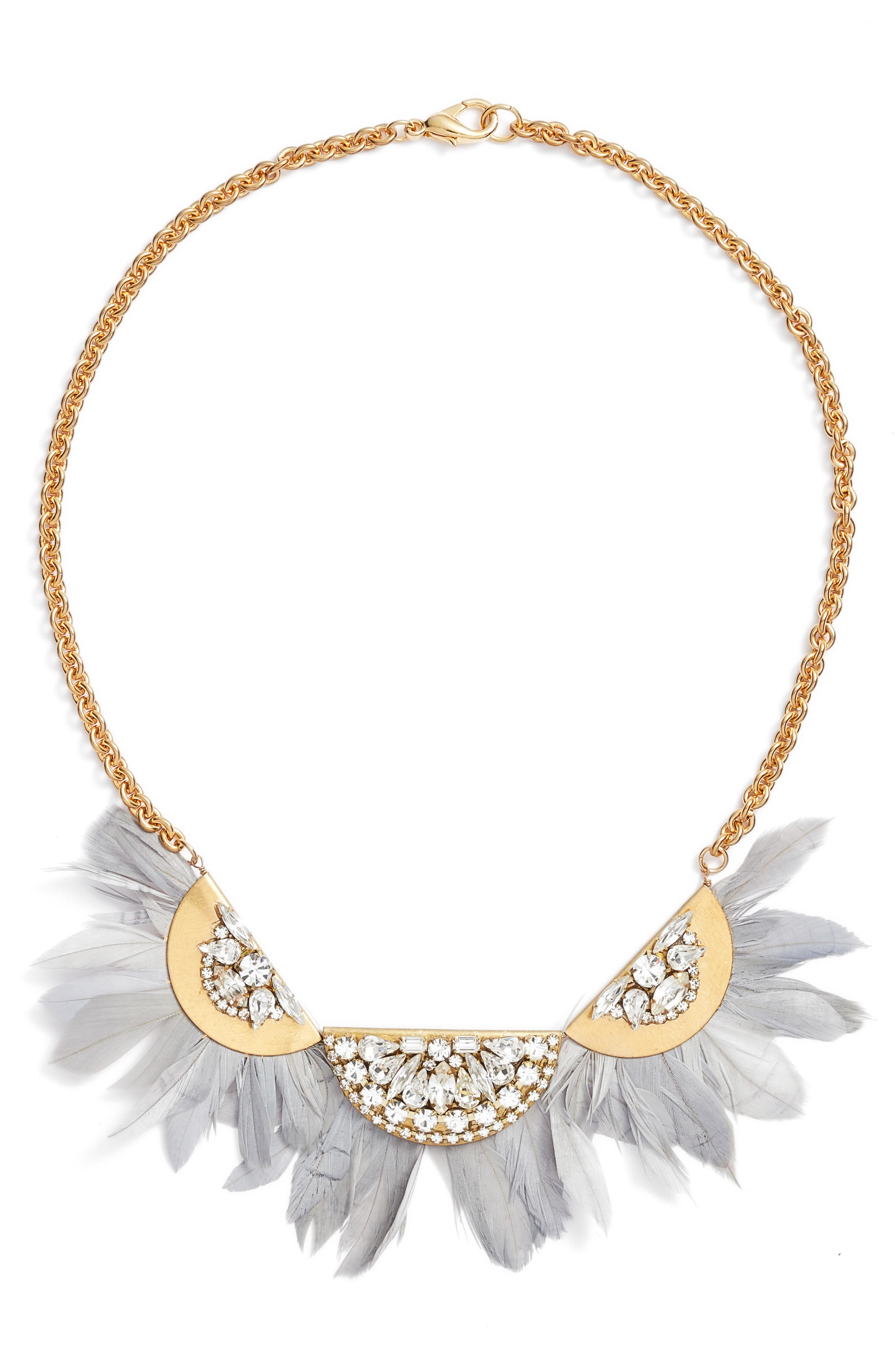 Feather Bib Necklace,                         Main,                         color, Grey/ Gold