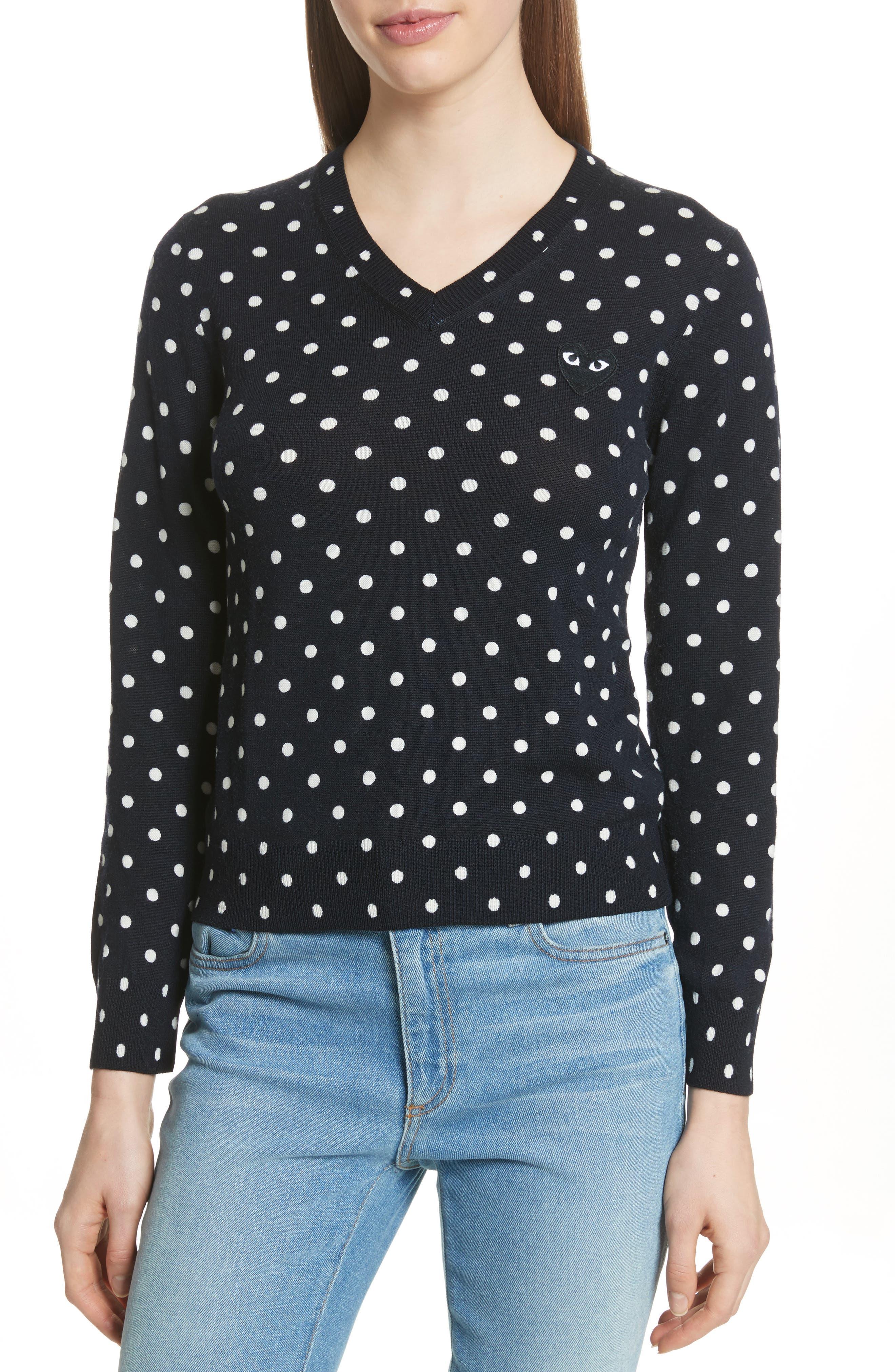 Comme des Garçons PLAY Black Heart Pullover,                         Main,                         color, Navy