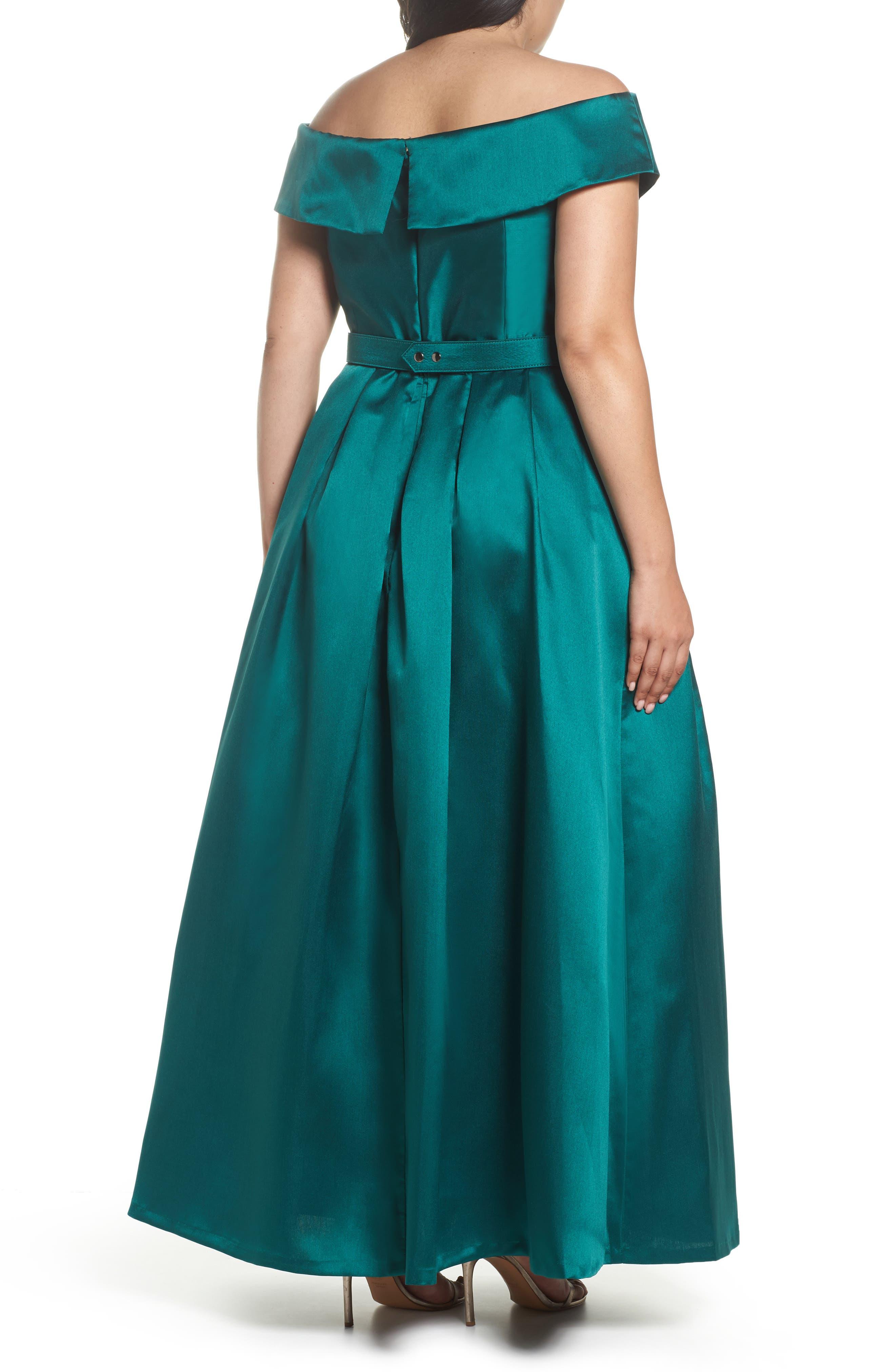 Off the Shoulder Ballgown,                             Alternate thumbnail 2, color,                             Emerald