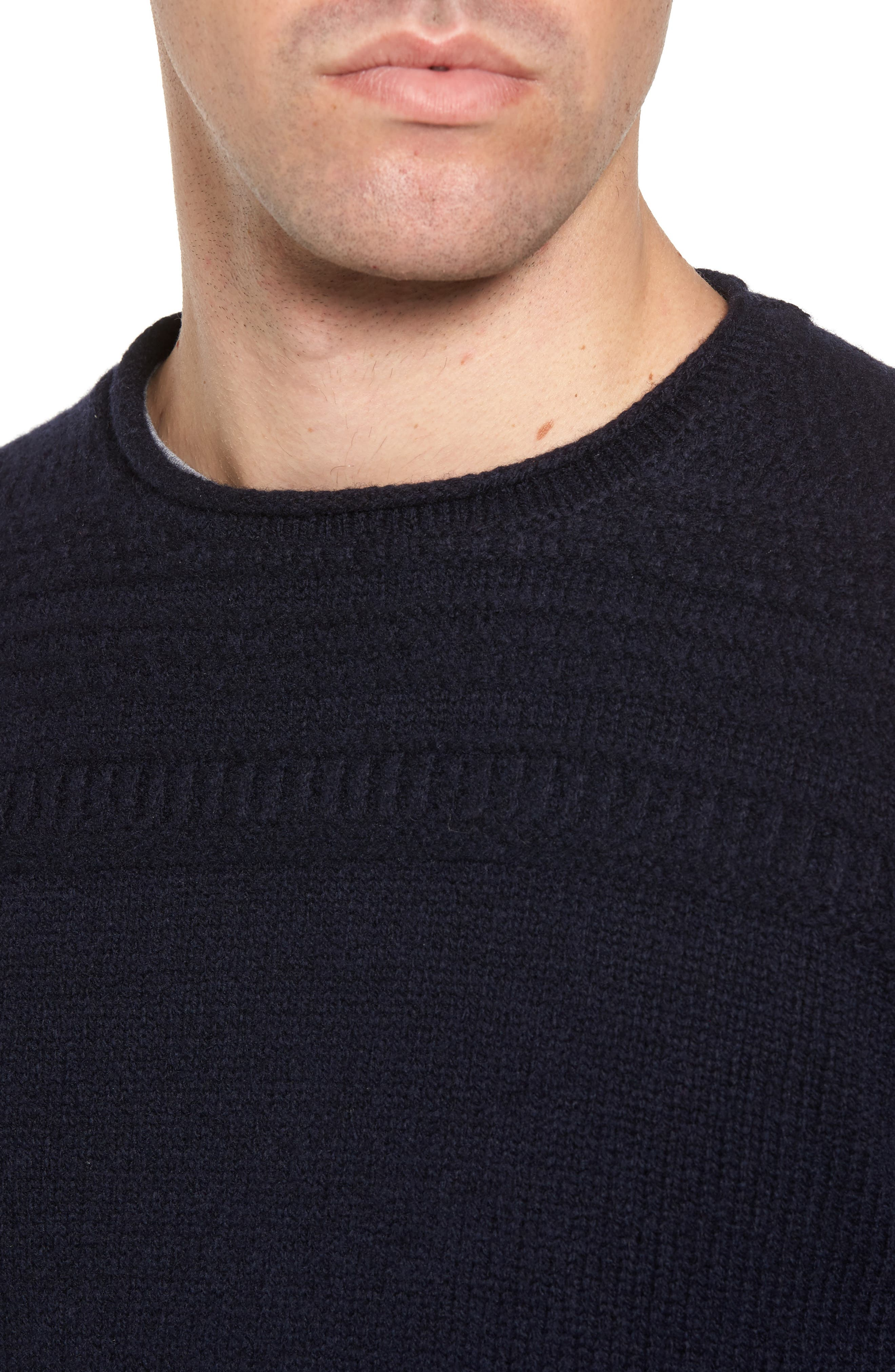 Roll Neck Wool Sweater,                             Alternate thumbnail 4, color,                             Navy
