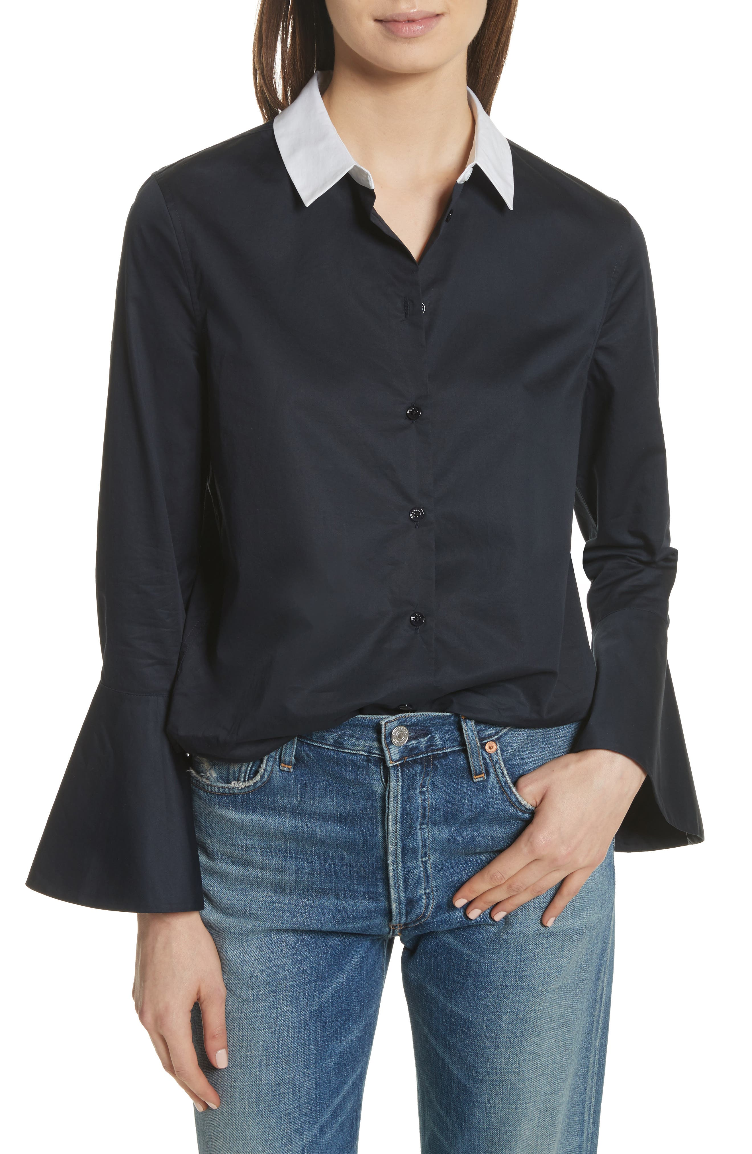 Darla Bell Cuff Shirt,                             Main thumbnail 1, color,                             Eclipse