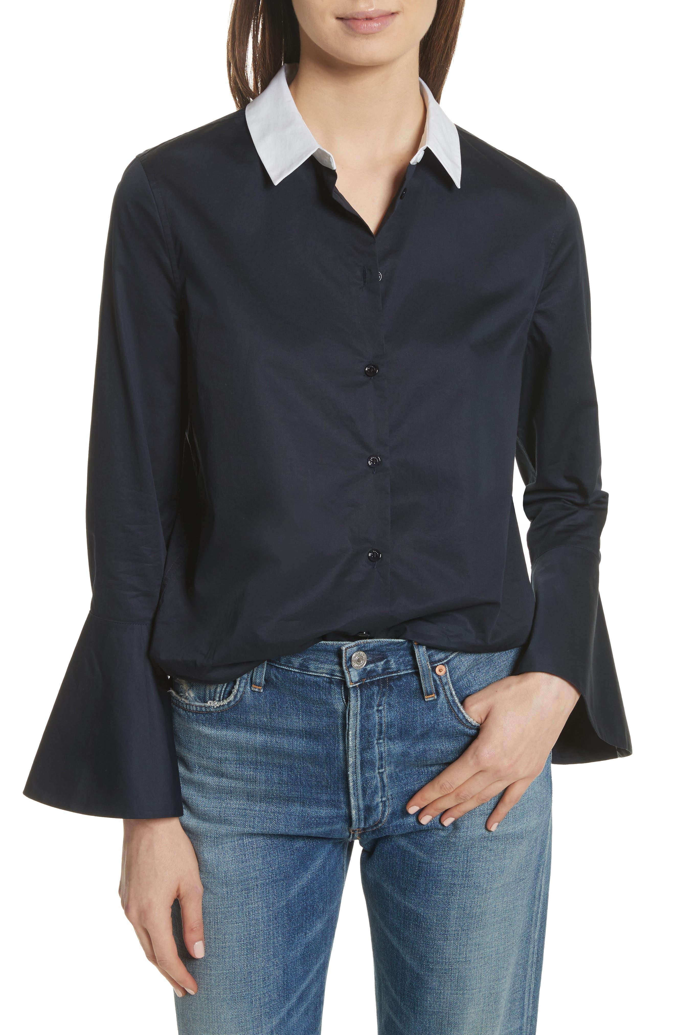 Darla Bell Cuff Shirt,                         Main,                         color, Eclipse