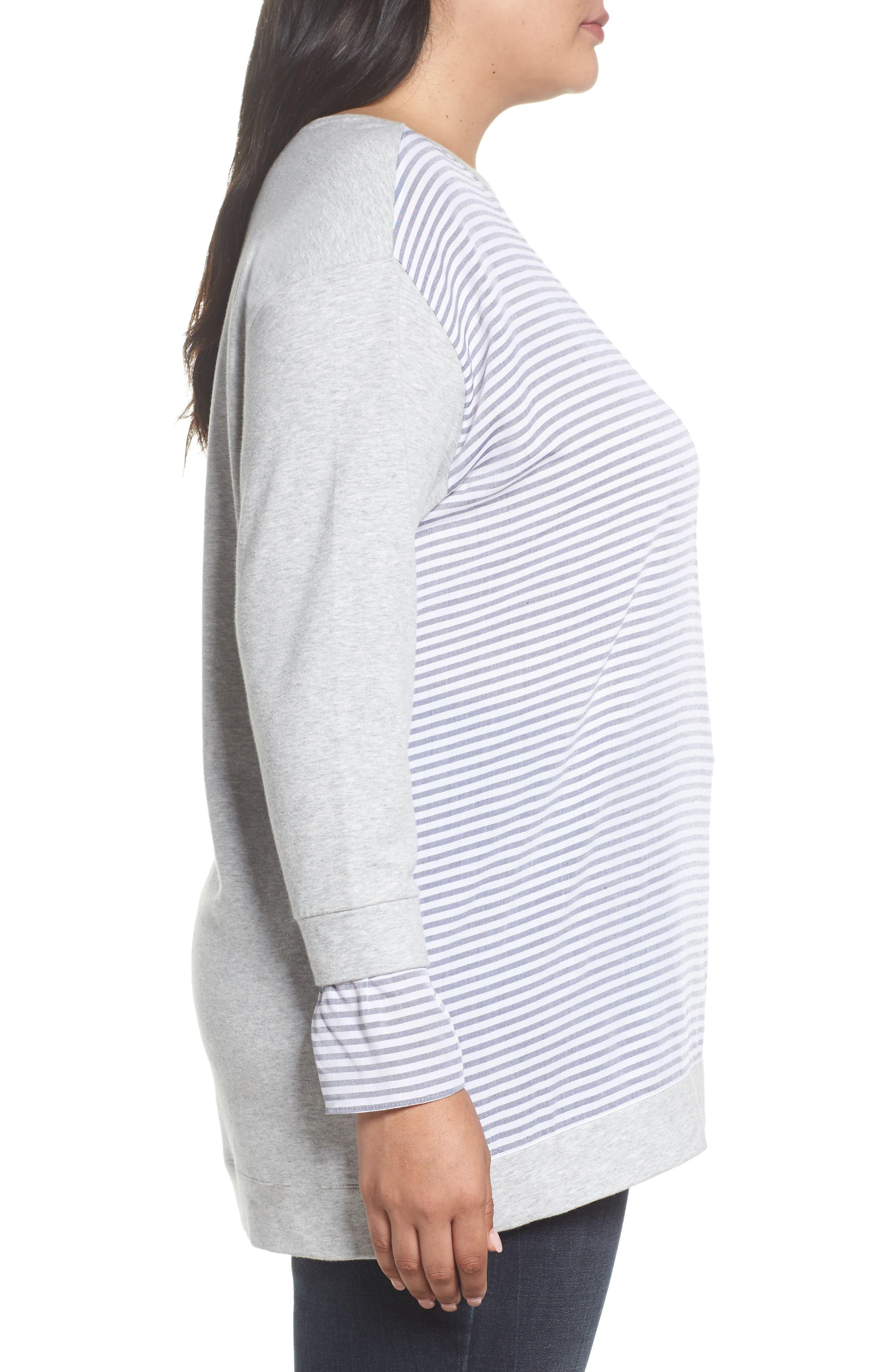 Mixed Media Sweatshirt,                             Alternate thumbnail 3, color,                             Grey Heather