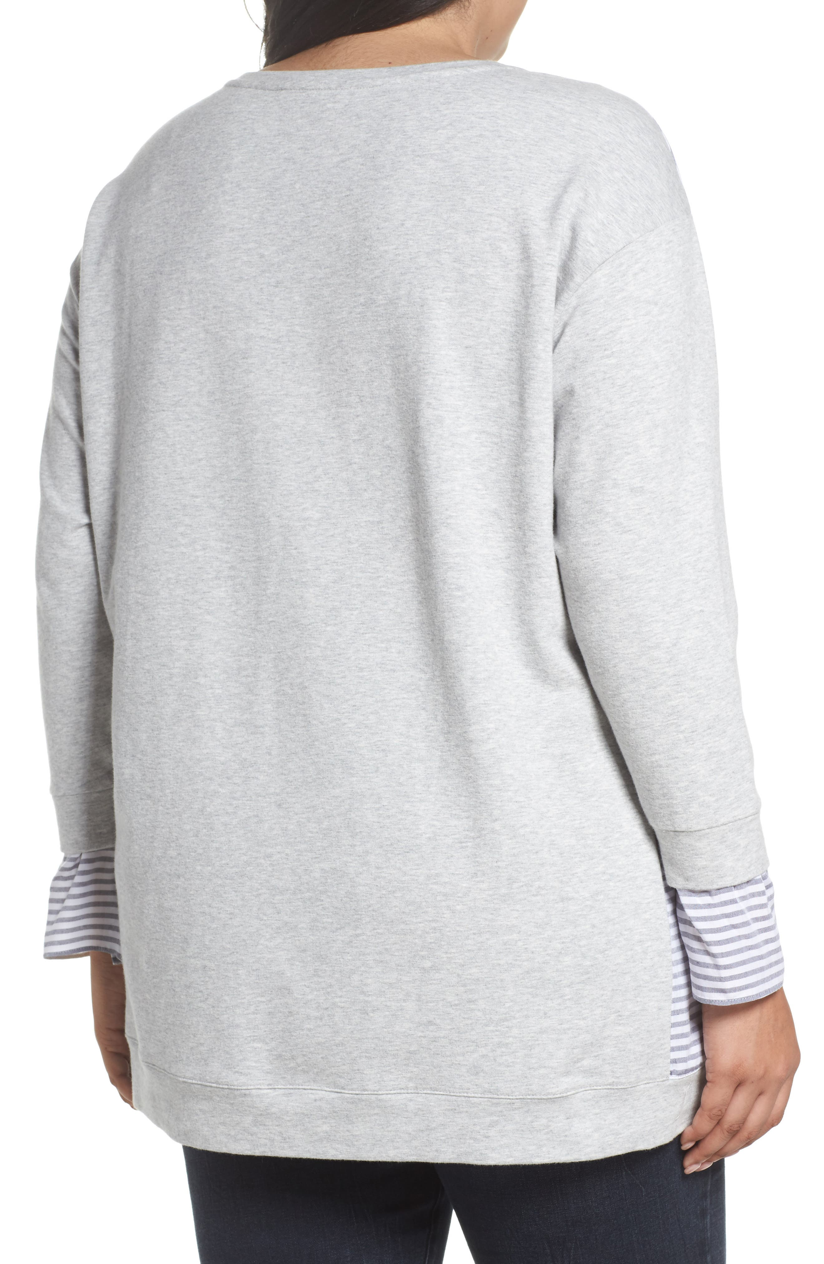 Mixed Media Sweatshirt,                             Alternate thumbnail 2, color,                             Grey Heather