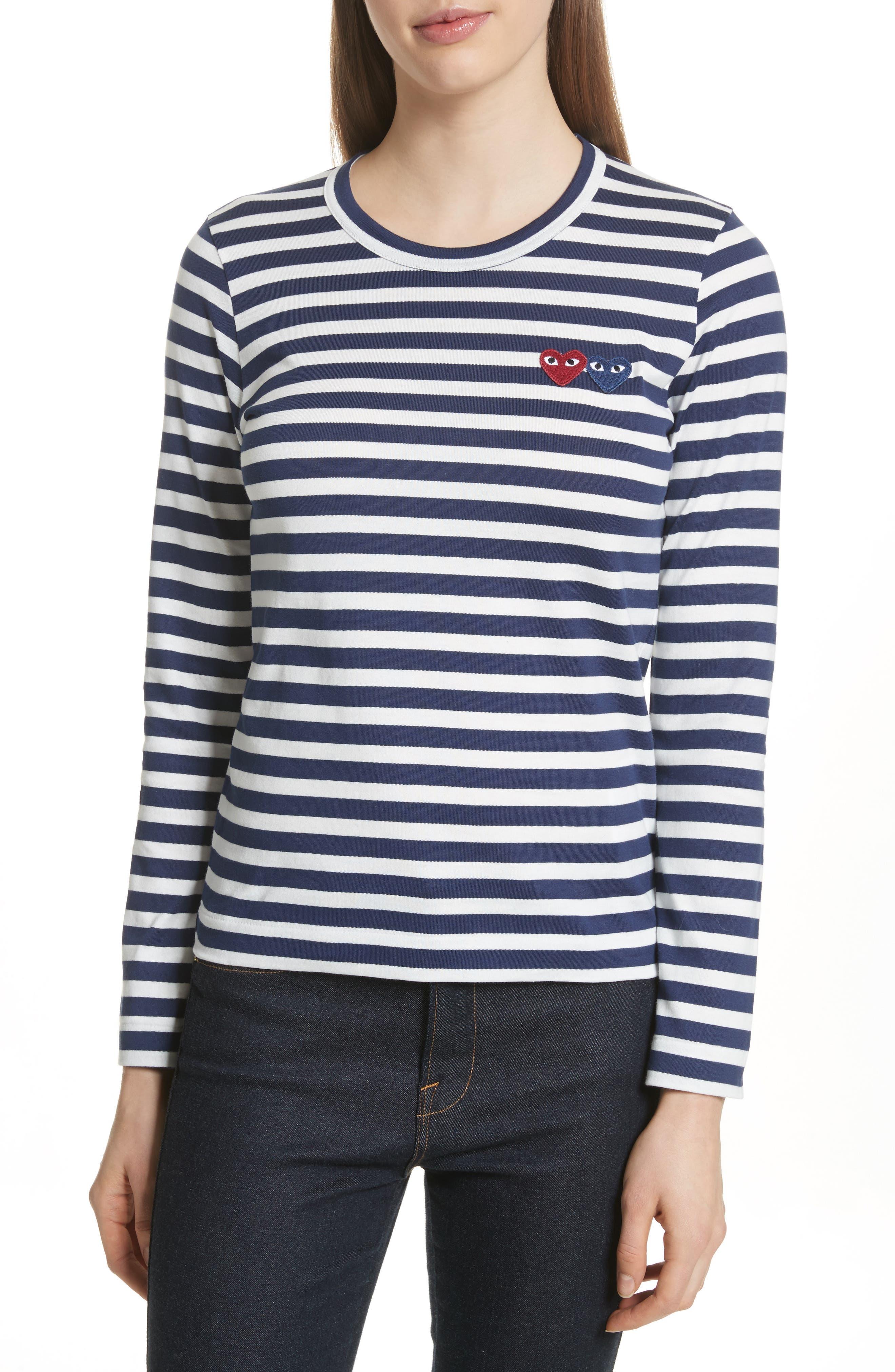 PLAY Double Heart Stripe Tee,                         Main,                         color, Navy