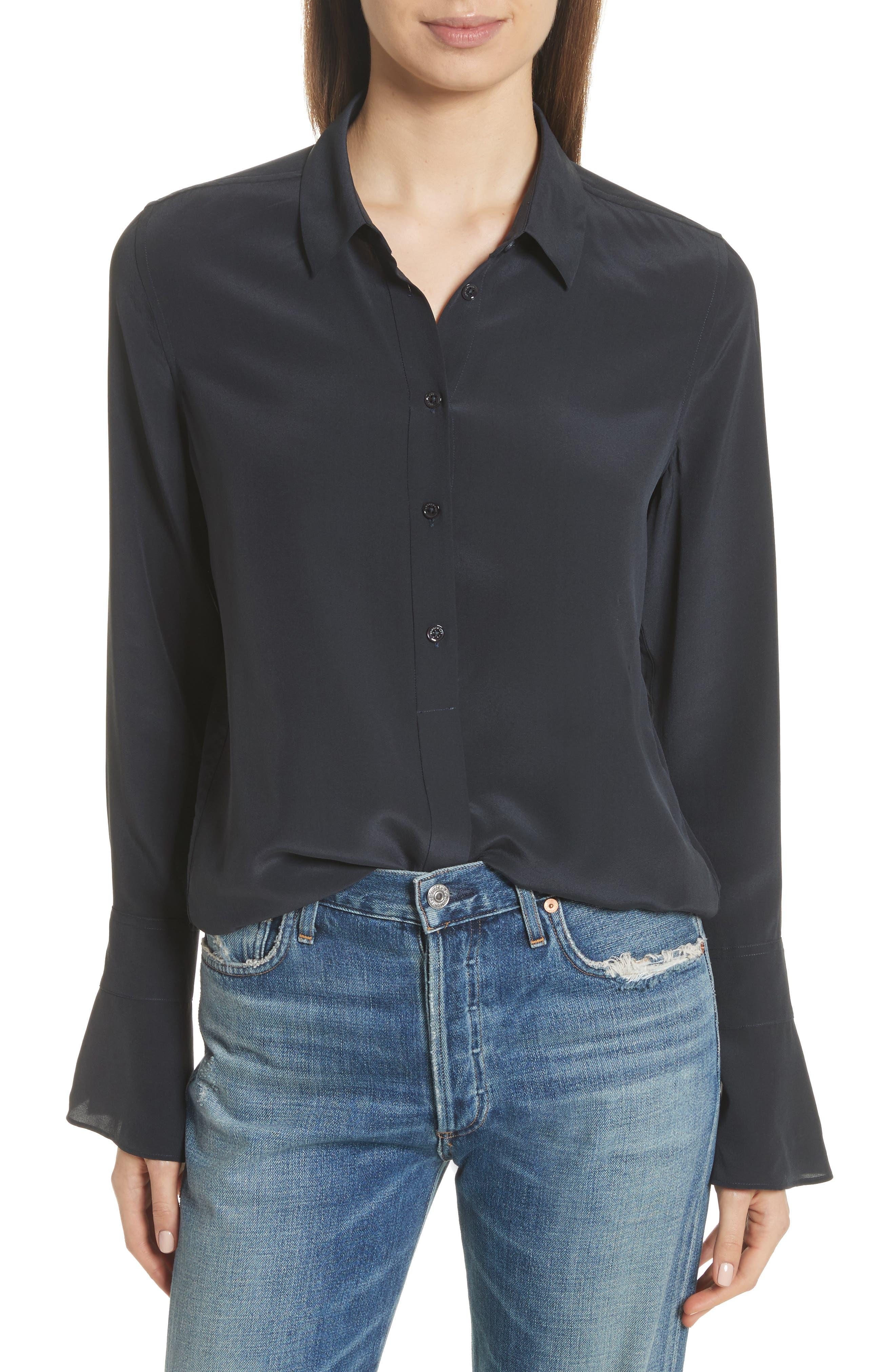 Daphine Bell Cuff Silk Shirt,                         Main,                         color, Eclipse