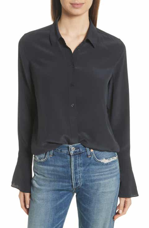Equipment Daphine Bell Cuff Silk Shirt