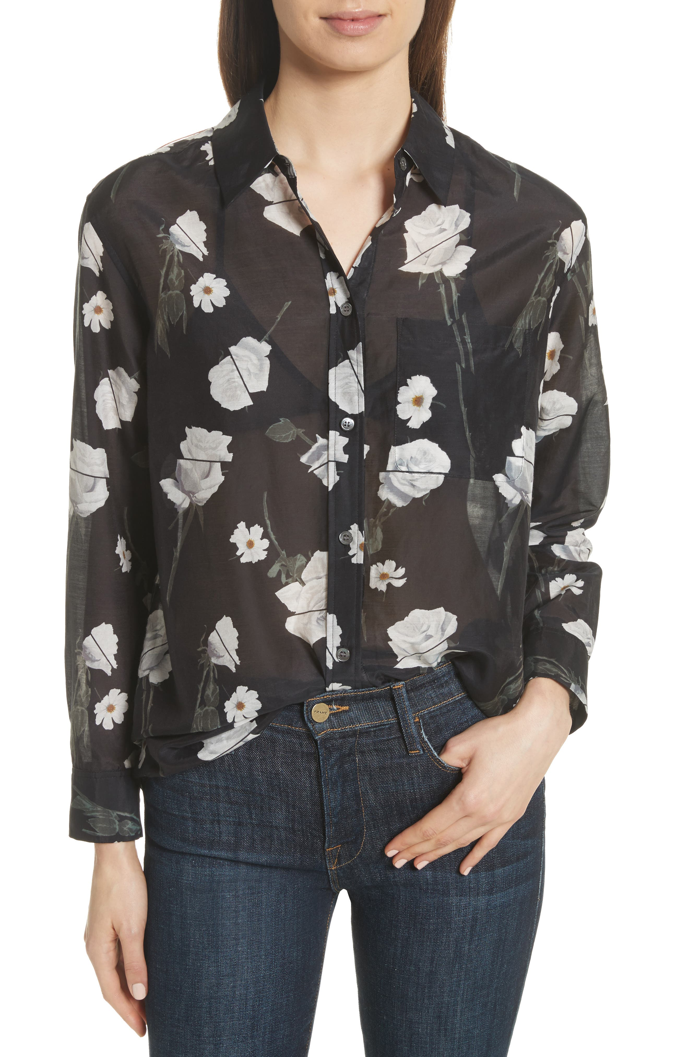 Daddy Floral Cotton & Silk Shirt,                         Main,                         color, True Black Multi