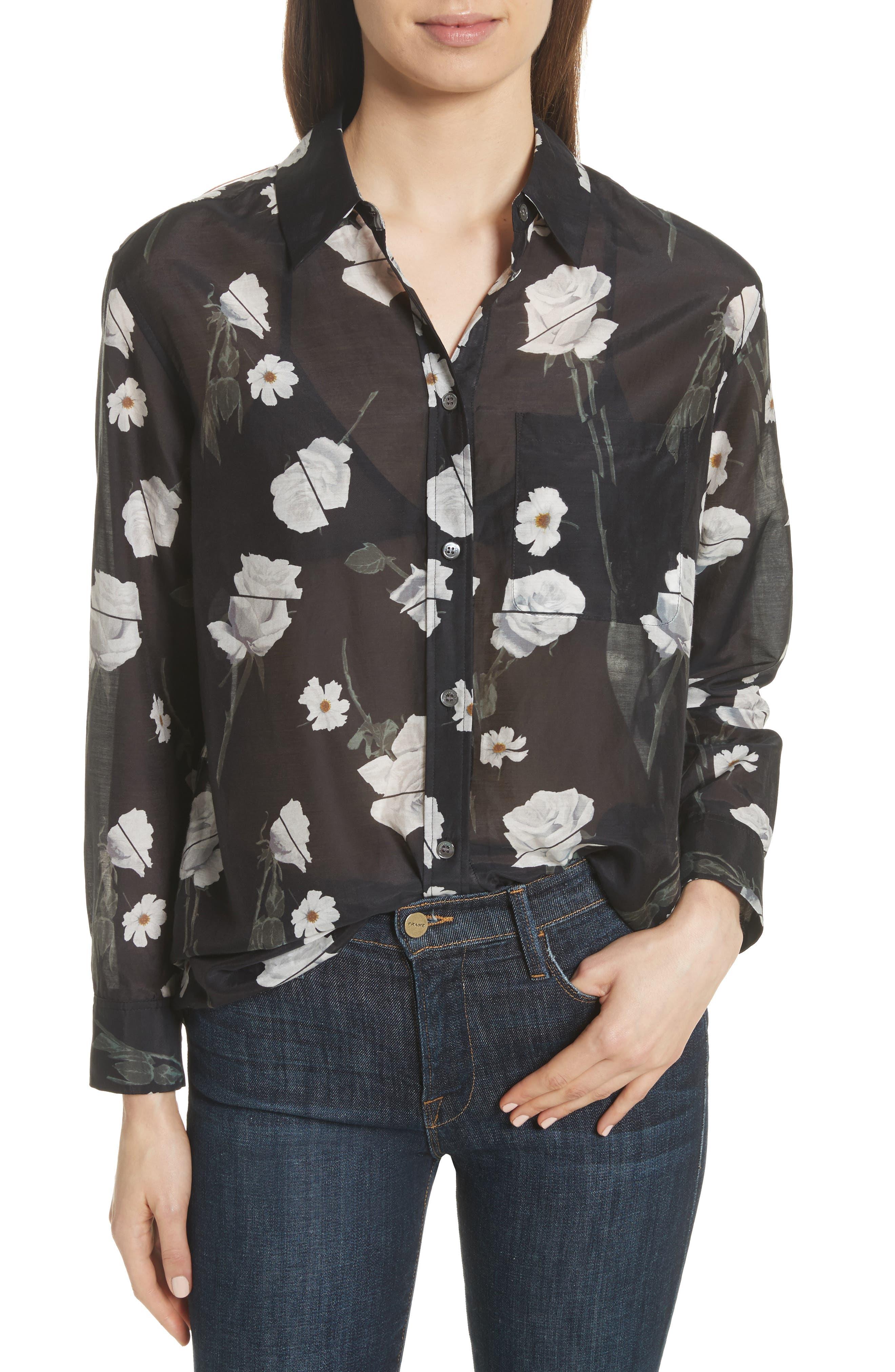 Daddy Floral Cotton & Silk Shirt,                         Main,                         color, True Black Multi