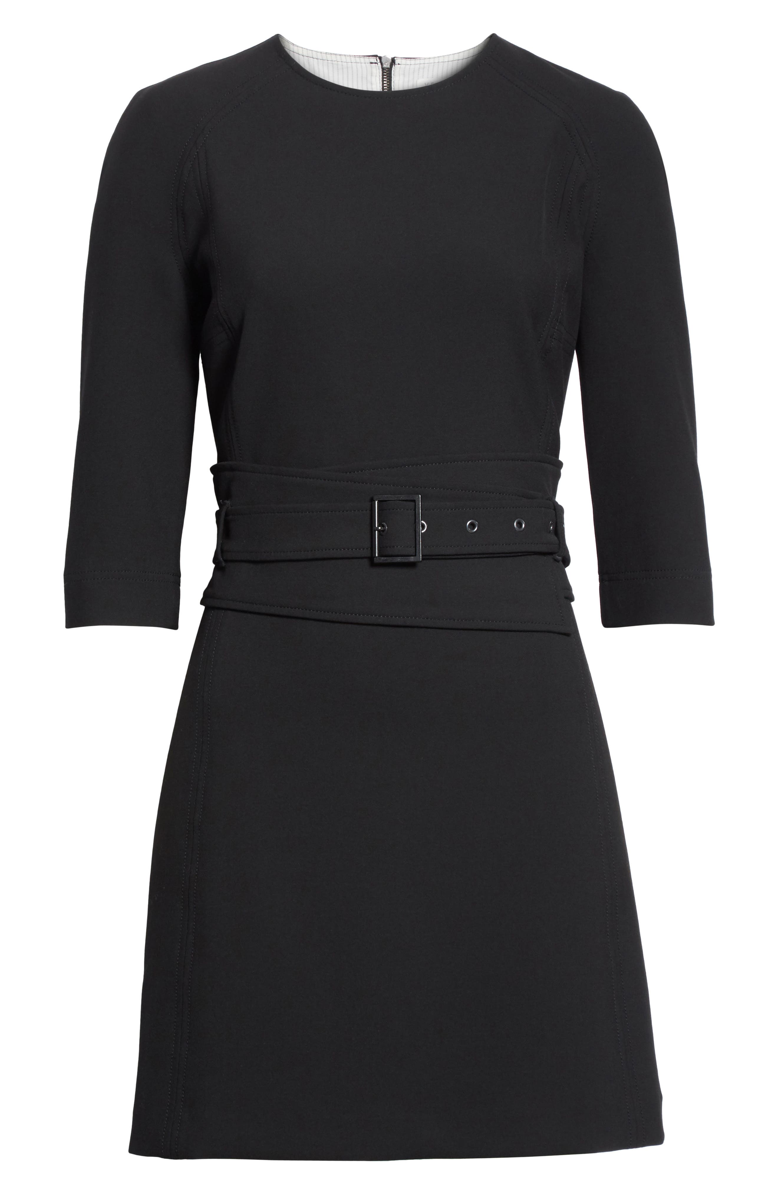 Nora Belted Dress,                             Alternate thumbnail 6, color,                             Black
