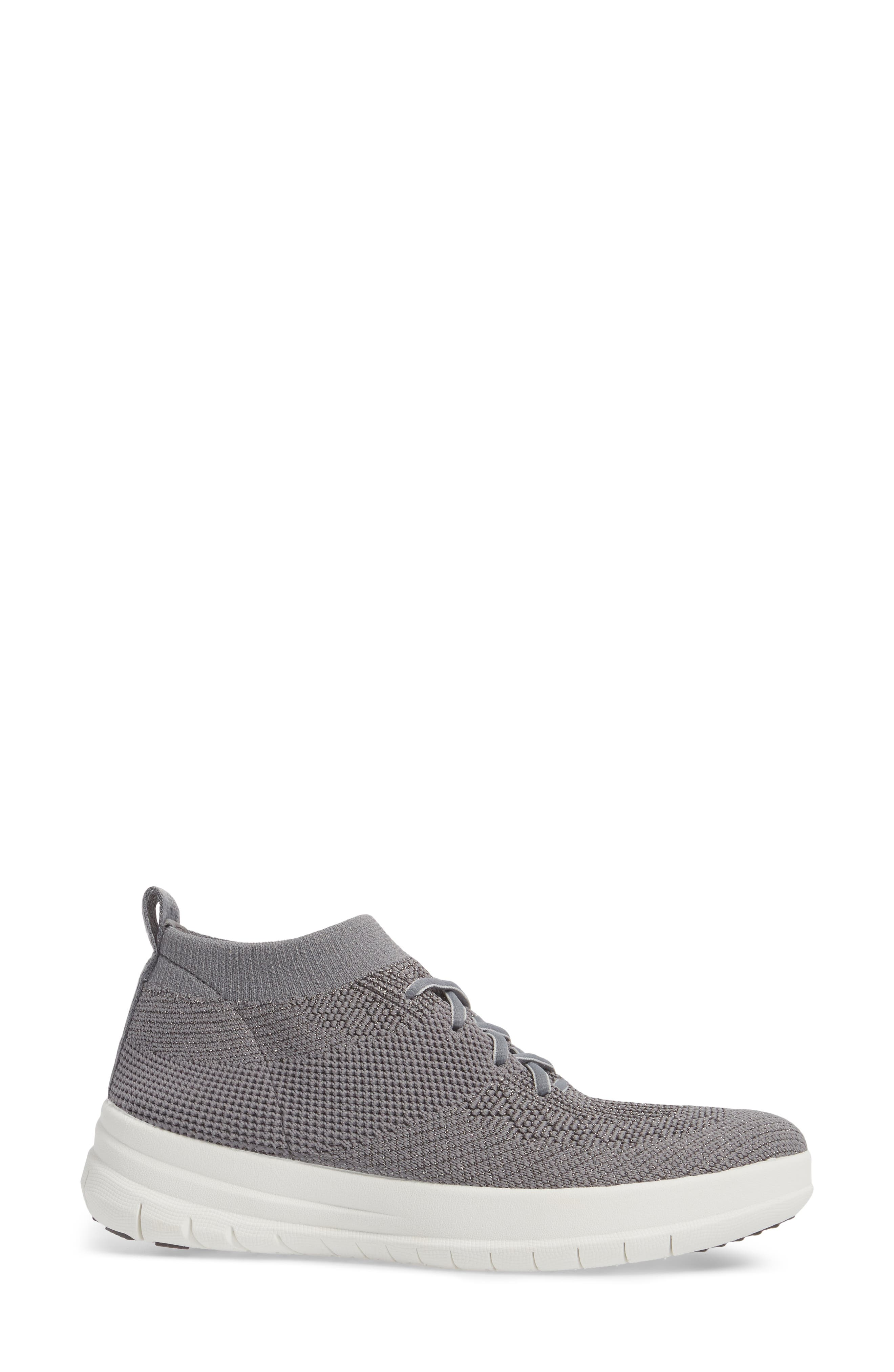 Uberknit<sup>™</sup> Slip-On High-Top Sneaker,                             Alternate thumbnail 3, color,                             Charcoal/ Metallic Pewter