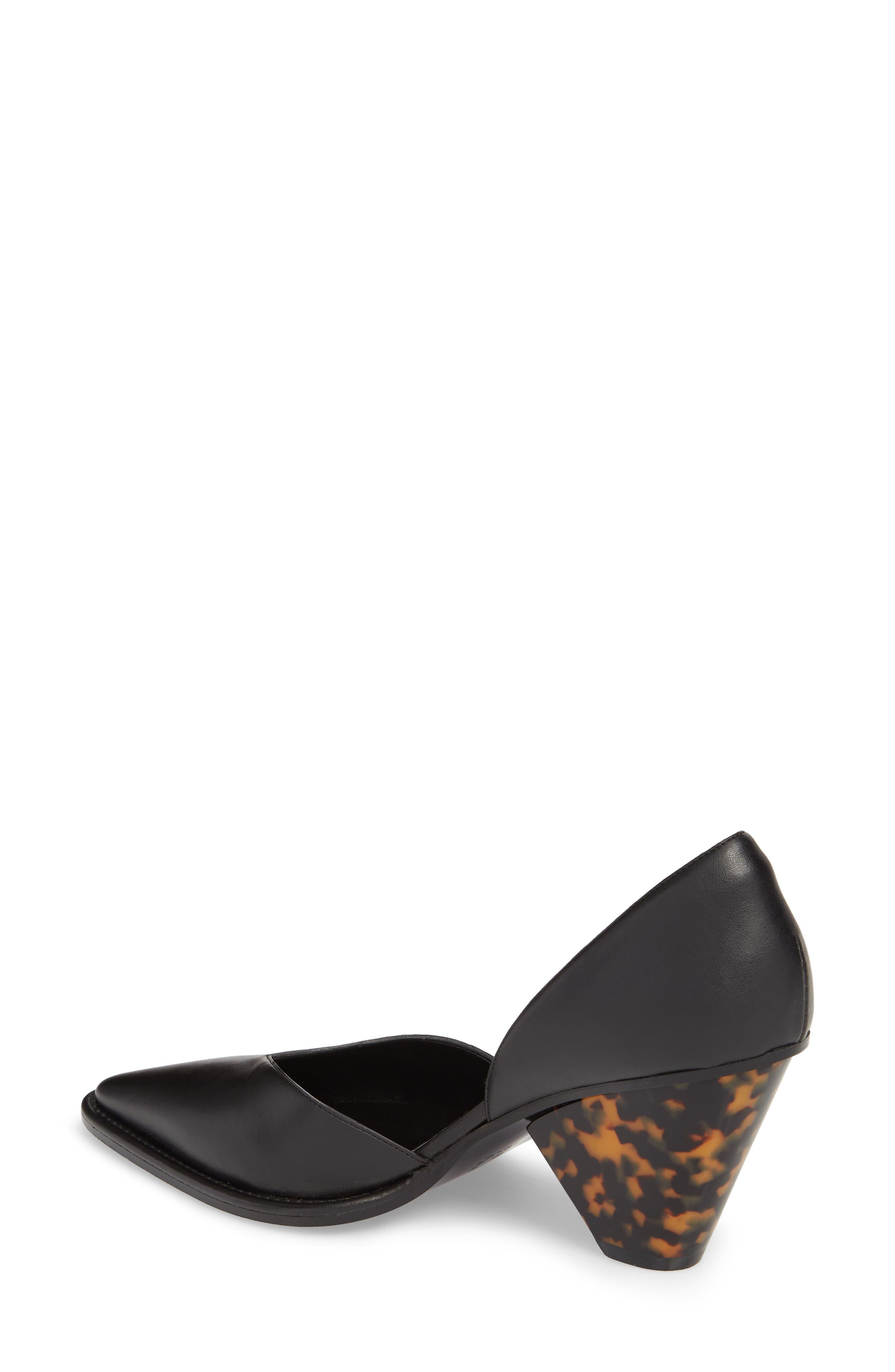 Tortoiseshell Heel d'Orsay Pump,                             Alternate thumbnail 2, color,                             Black