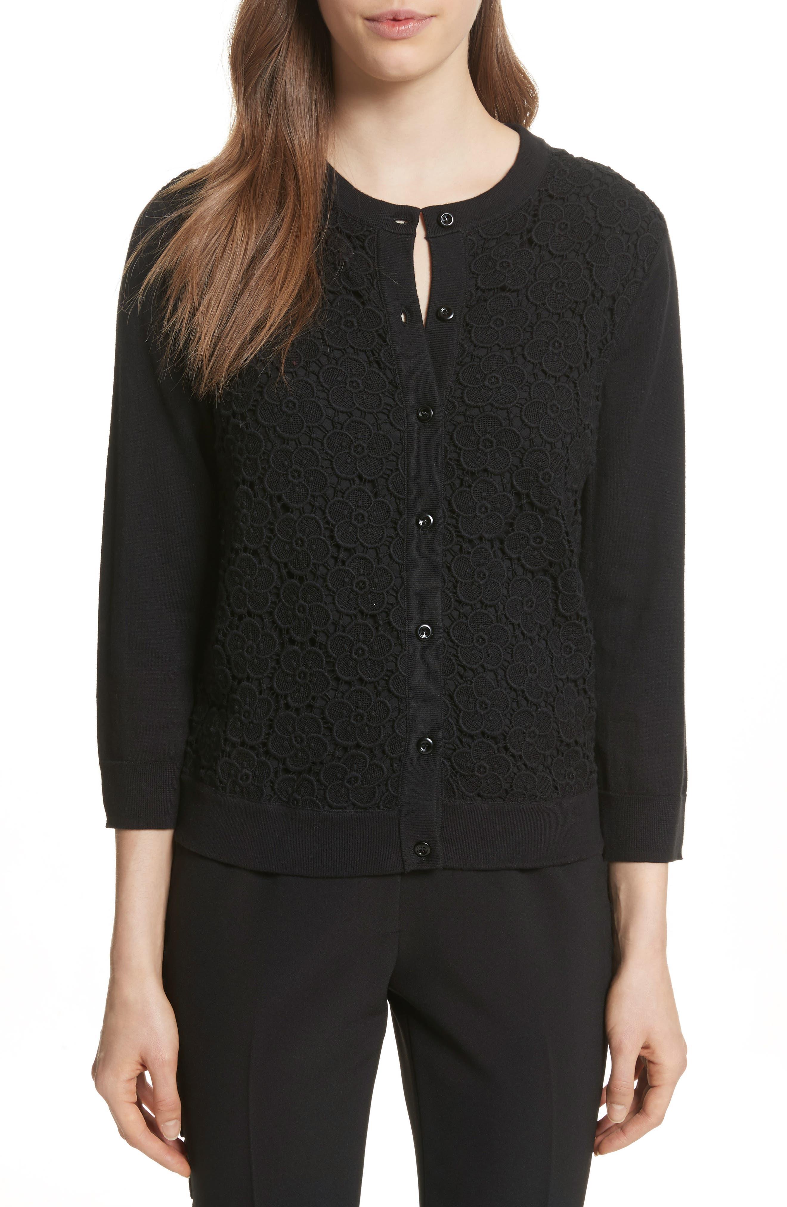 bloom floral lace cardigan,                         Main,                         color, Black