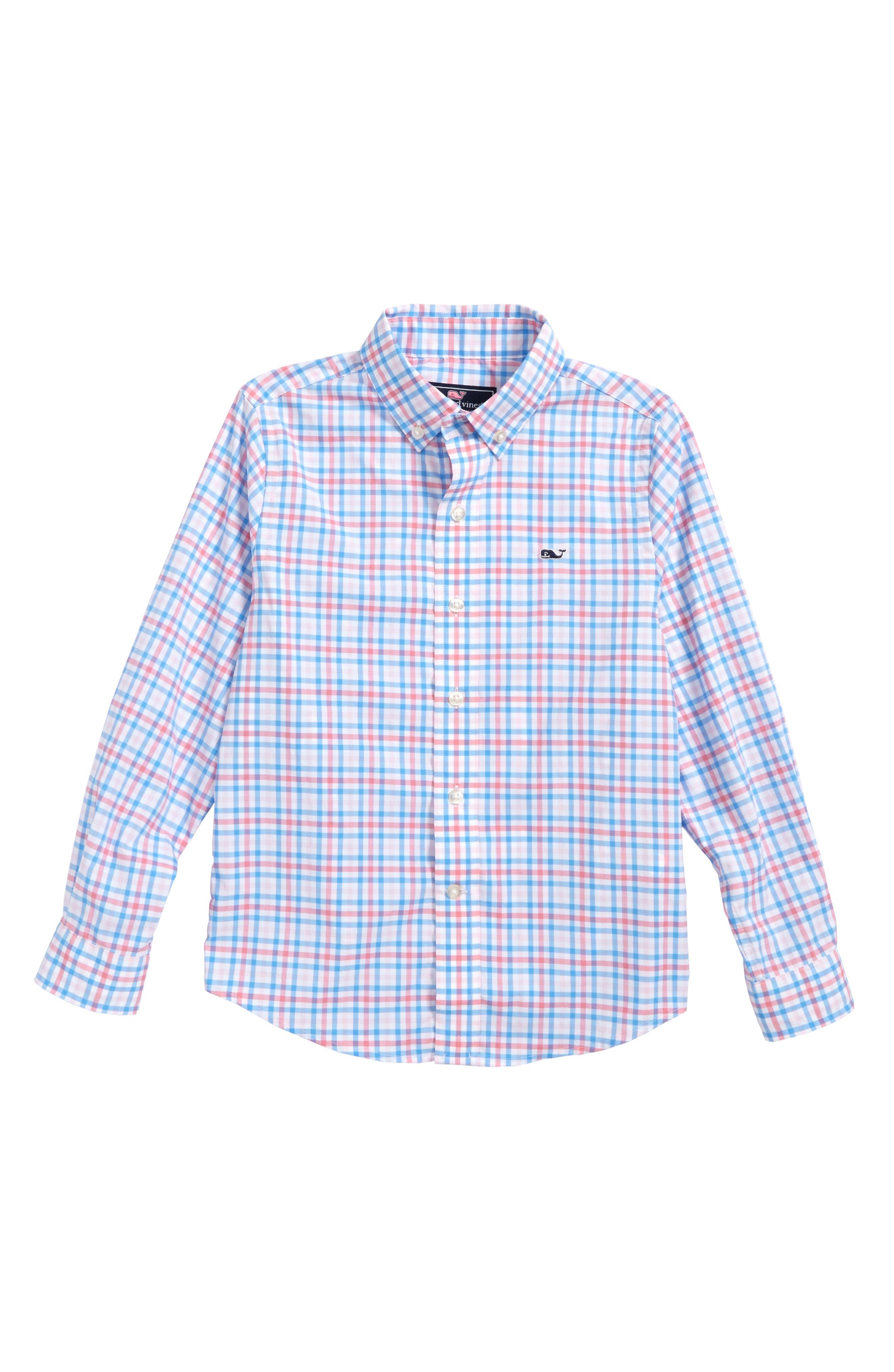 Gulf Shore Gingham Performance Woven Shirt,                             Main thumbnail 1, color,                             Bahama Breeze