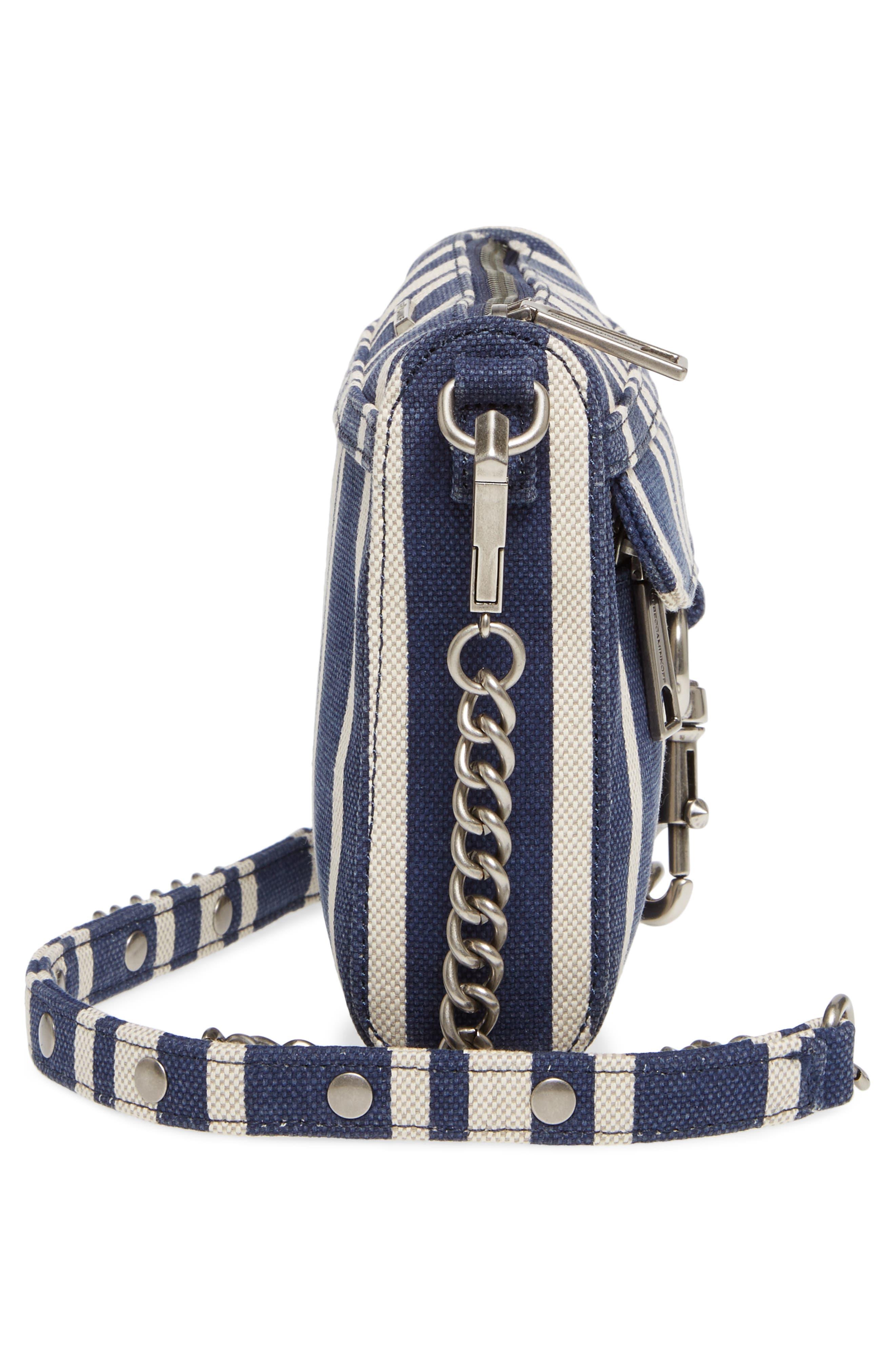 Mini MAC Stripe Canvas Convertible Crossbody Bag,                             Alternate thumbnail 5, color,                             Navy Stripe