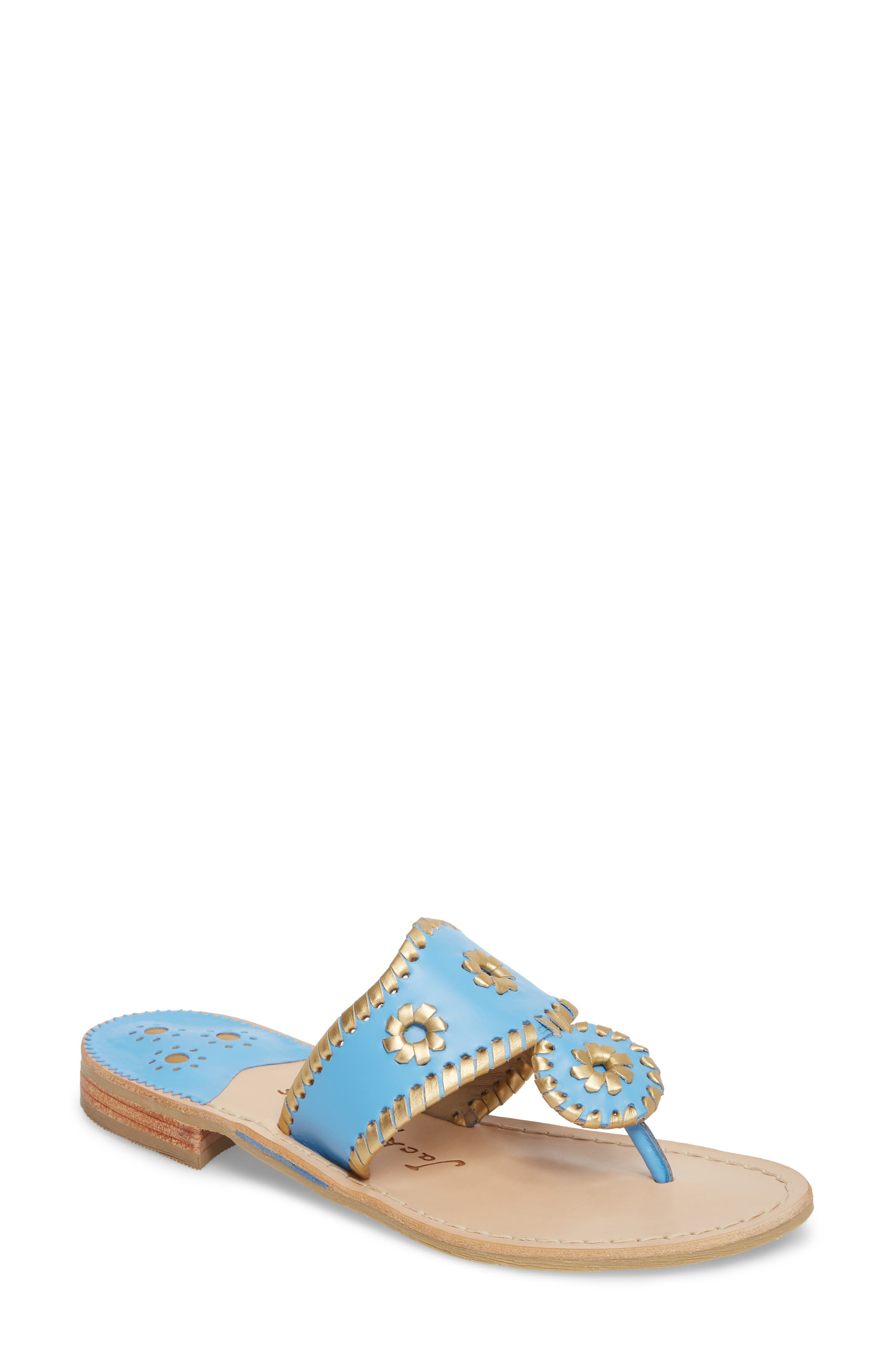 Hollis Flat Sandal,                         Main,                         color, French Blue Leather