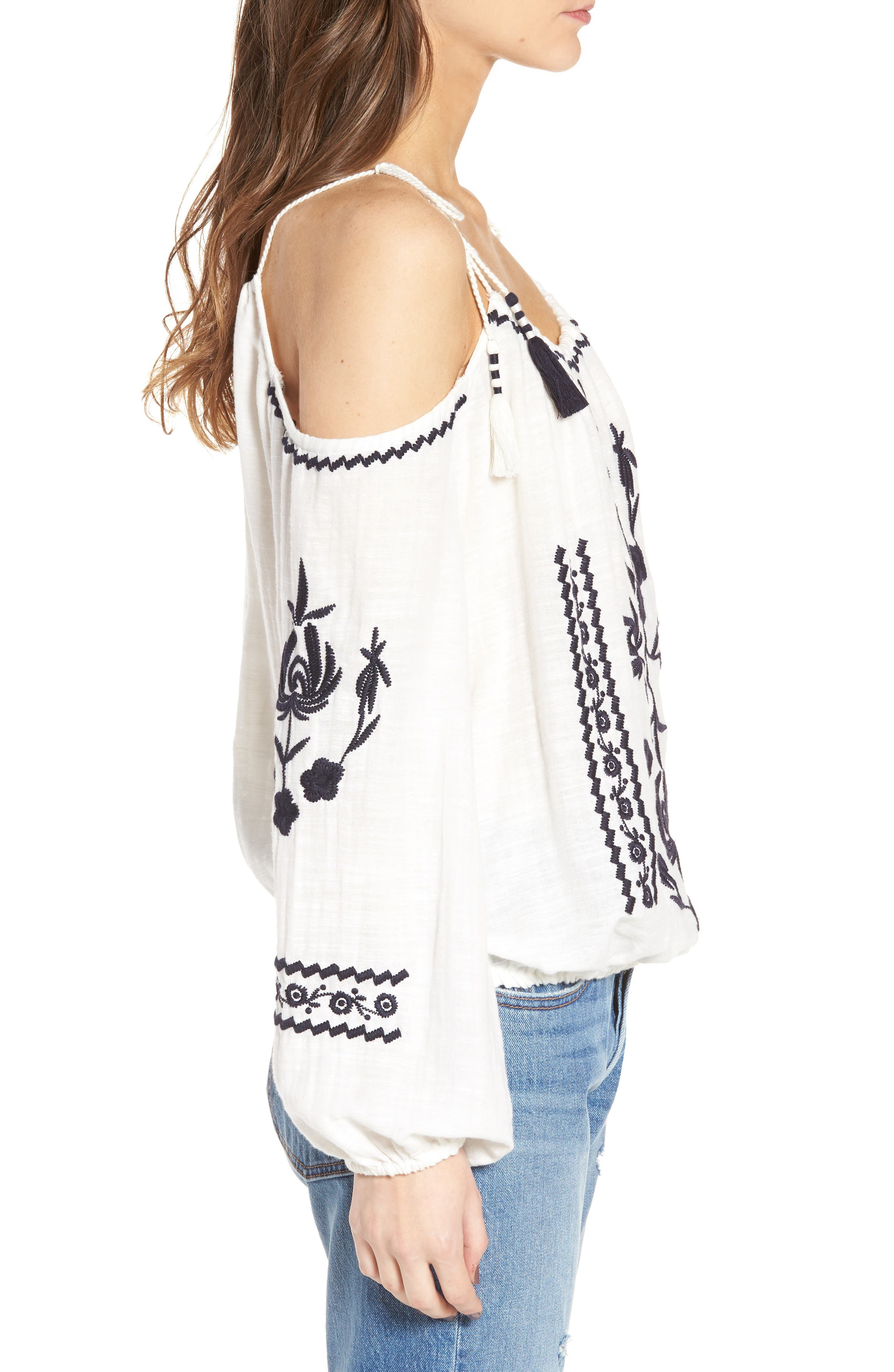 Embroidered Tassel Cold Shoulder Top,                             Alternate thumbnail 3, color,                             Ivory Egret