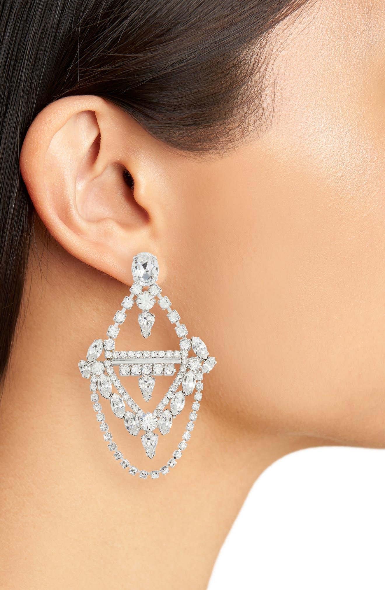 Crystal Chandelier Earrings,                             Alternate thumbnail 2, color,                             Silver