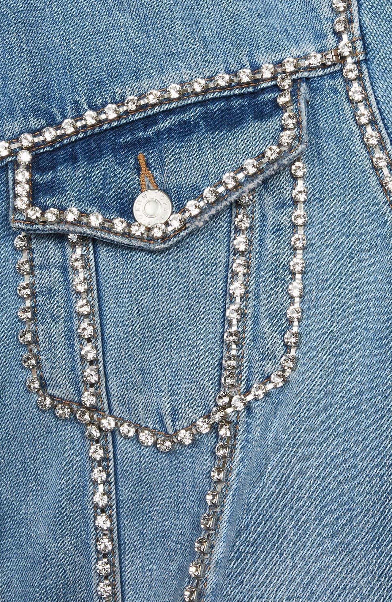 Oversize Crystal Seam Denim Jacket,                             Alternate thumbnail 4, color,                             Mid Denim
