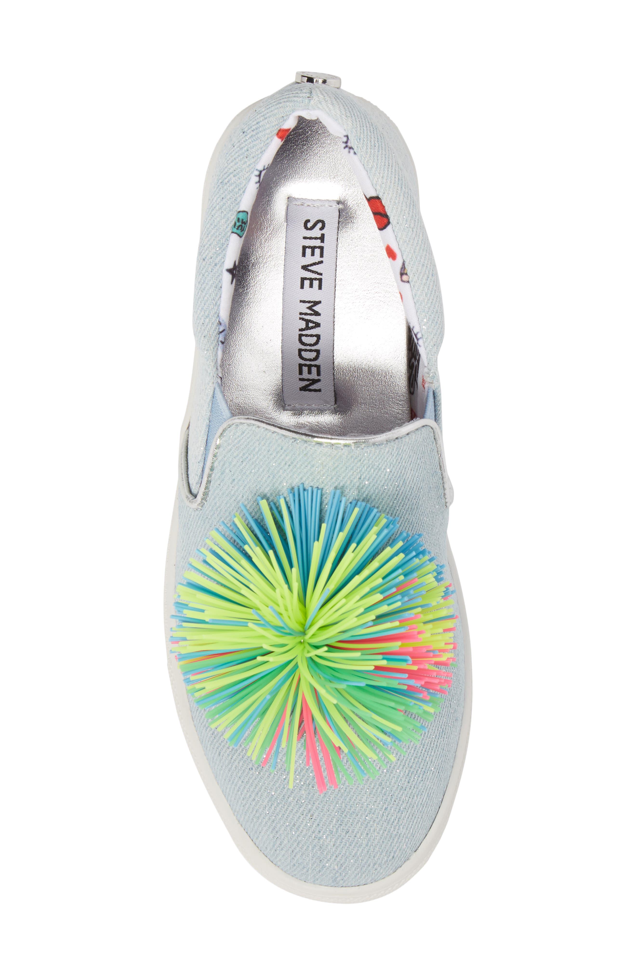Alternate Image 5  - Steve Madden Pompom Slip-On Sneaker (Little Kid & Big Kid)