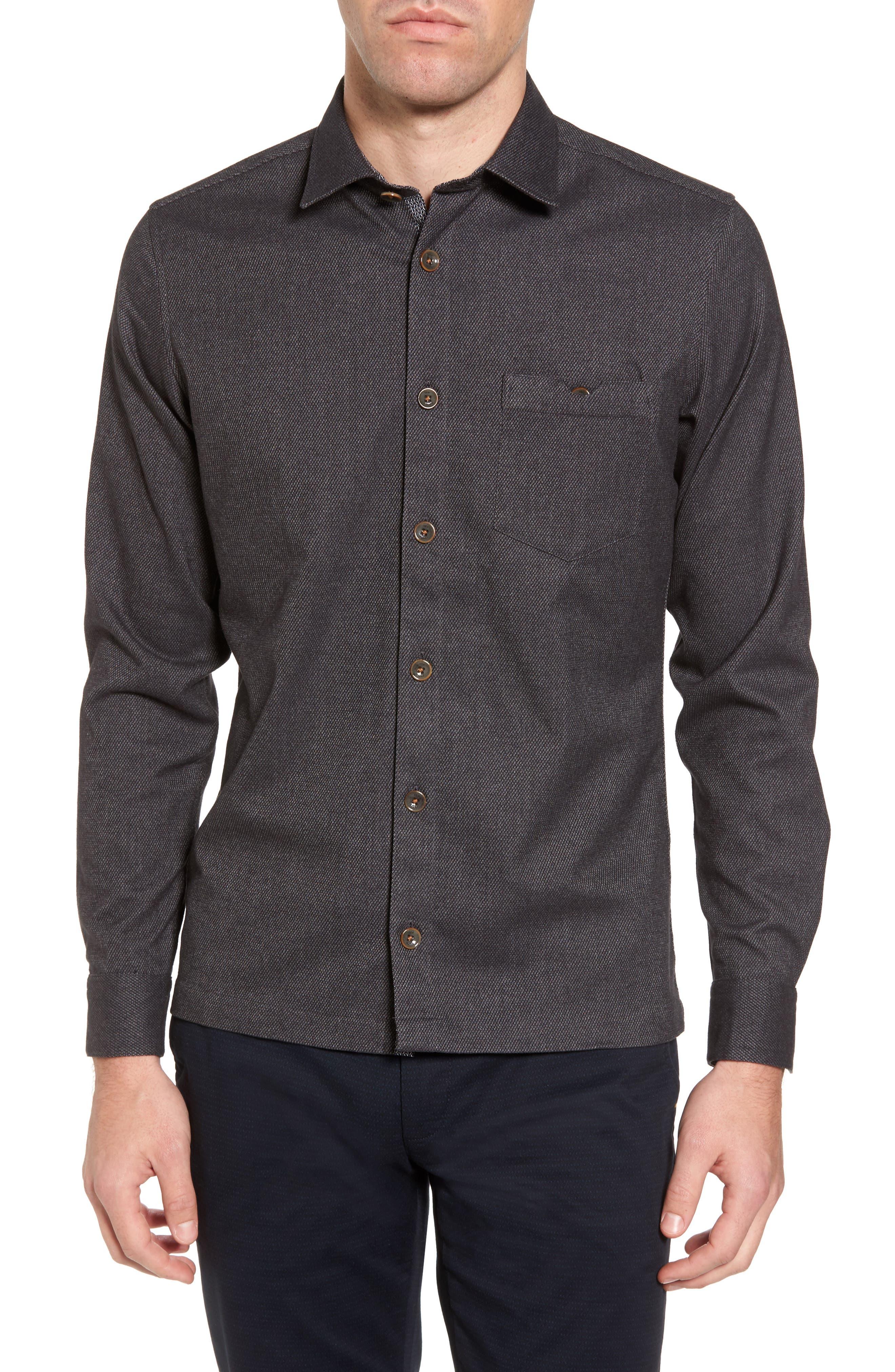 Digon Dobby Shirt,                         Main,                         color, Grey