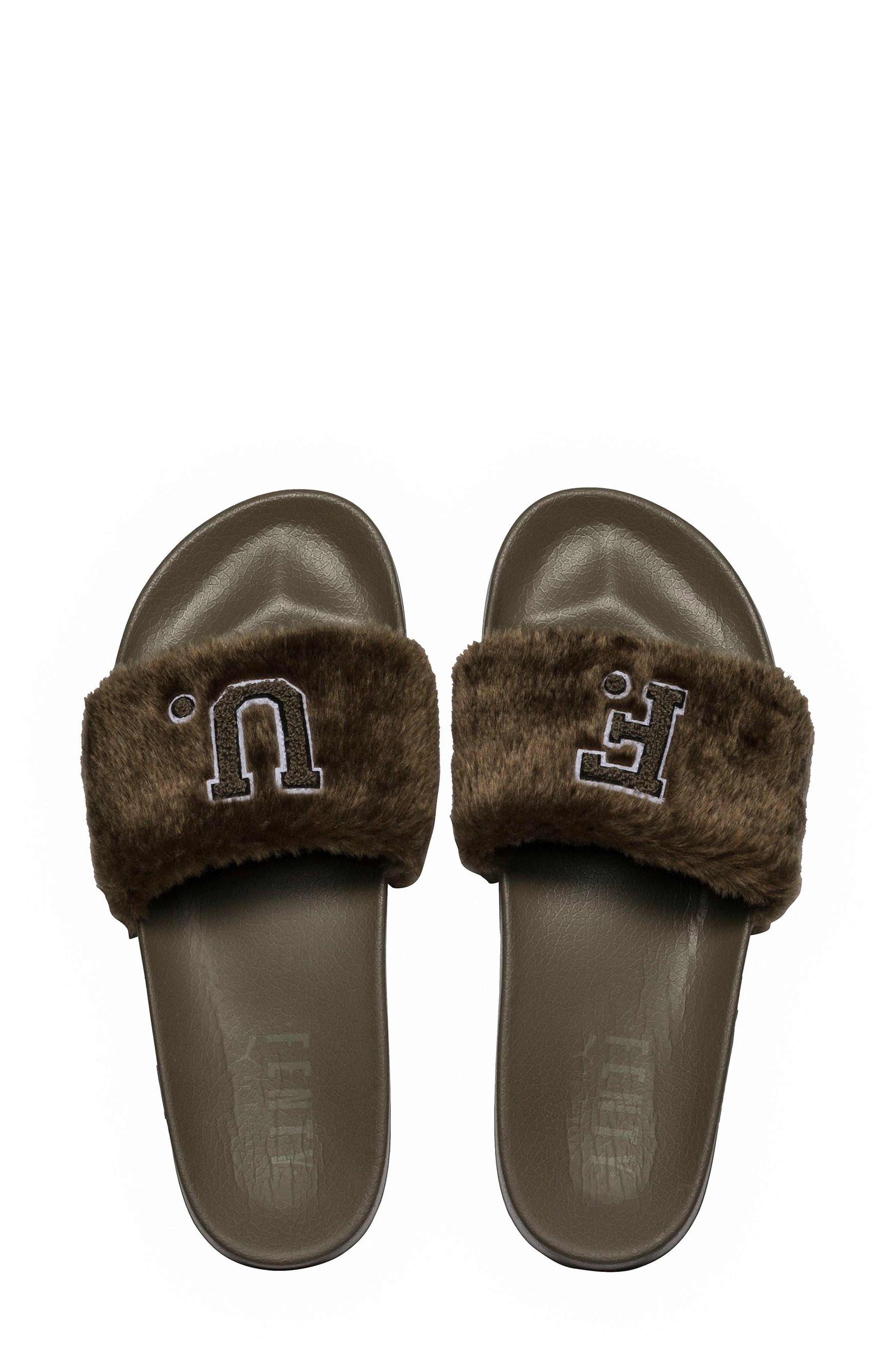 FENTY PUMA by Rihanna Lead Cat Slide Sandals,                             Alternate thumbnail 4, color,                             Burnt Olive - Puma Black