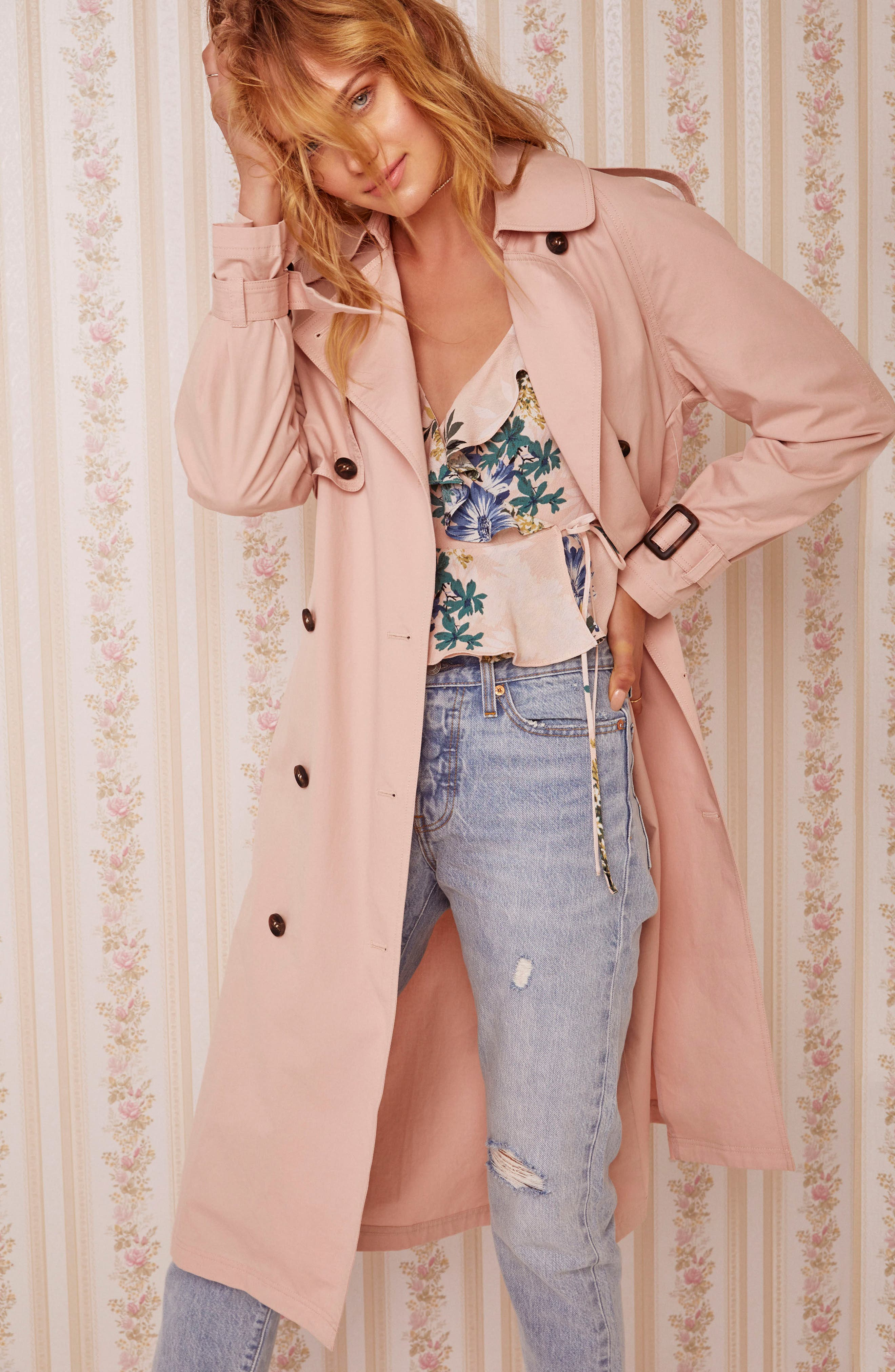 Wesley Trench Coat,                             Alternate thumbnail 4, color,                             Blush