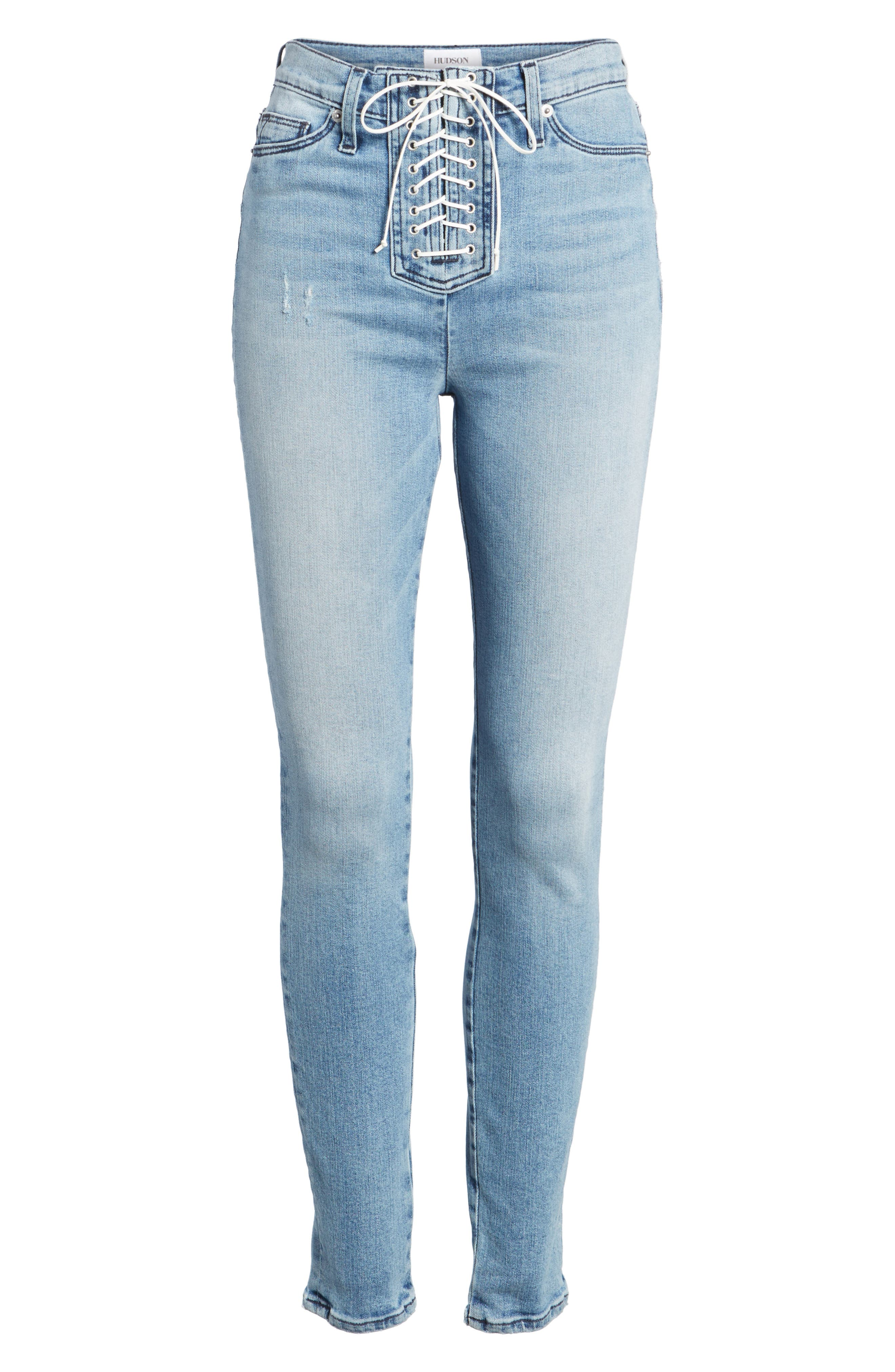 Bullocks Lace-Up High Waist Super Skinny Jeans,                             Alternate thumbnail 7, color,                             Guilty Pleasure