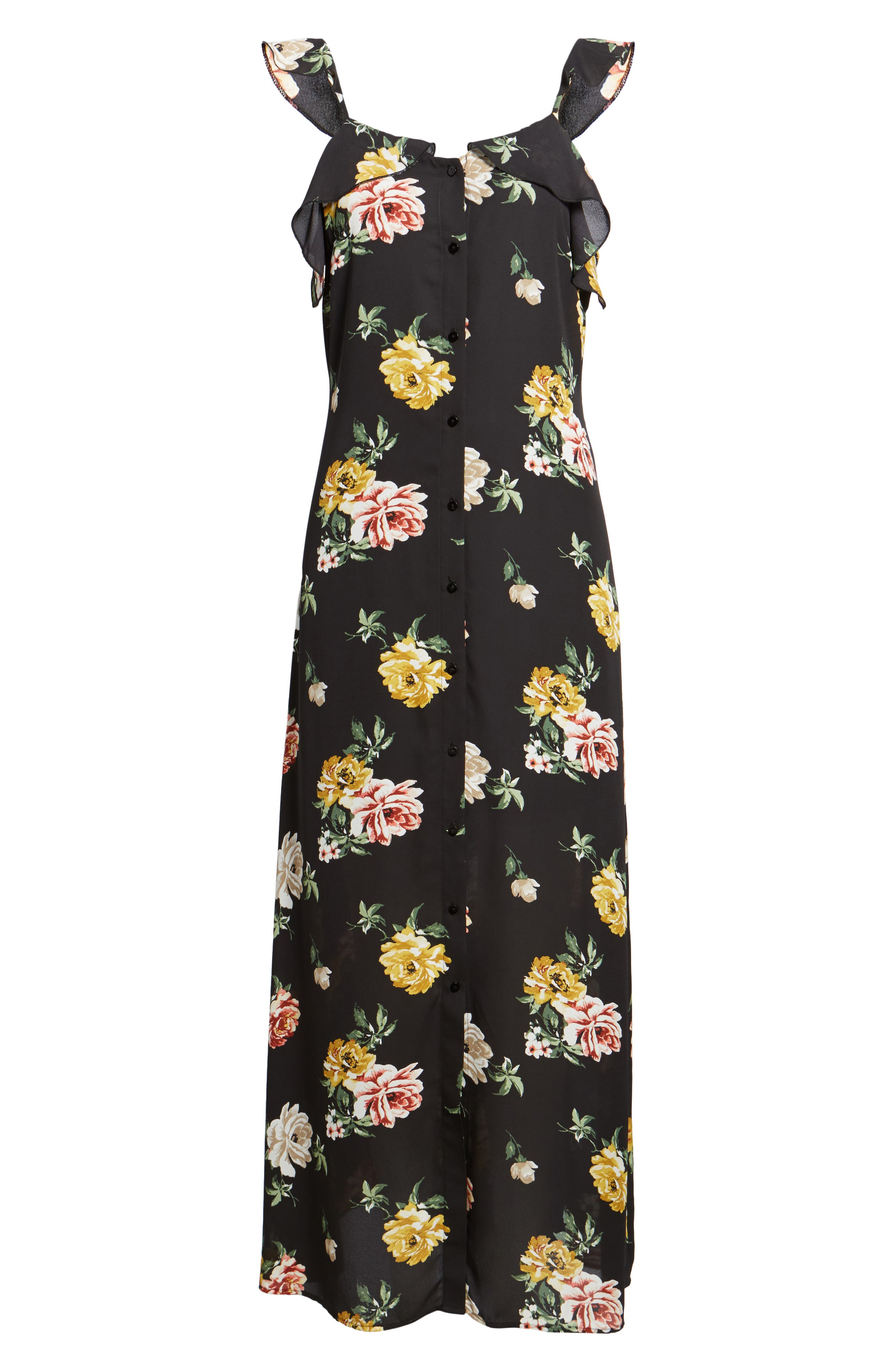 Floral Ruffle Strap Maxi Dress,                             Alternate thumbnail 6, color,                             Black Large Floral Print