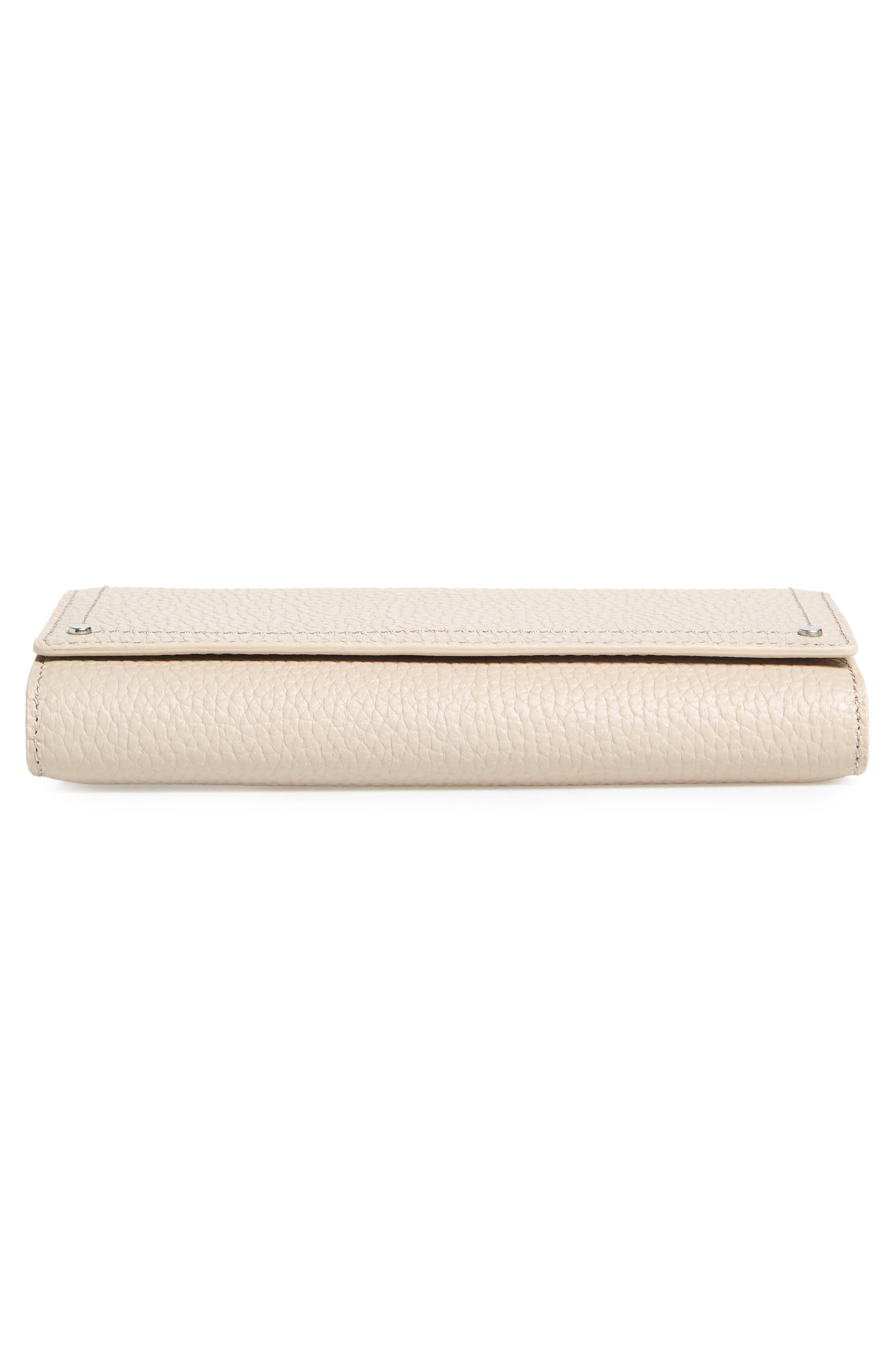 Leather Continental Wallet,                             Alternate thumbnail 6, color,                             Beige Morn