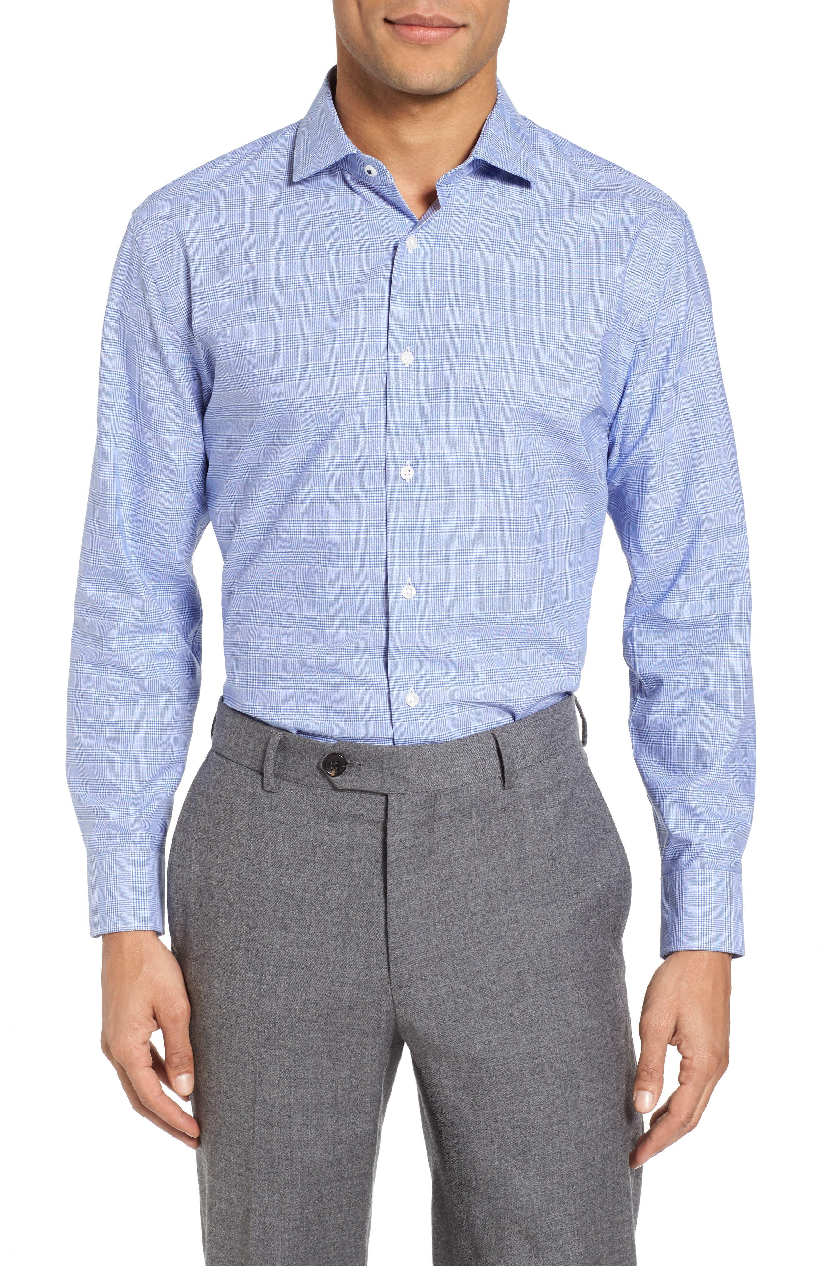 Alternate Image 1 Selected - Nordstrom Men's Shop Tech-Smart Trim Fit Stretch Plaid Dress Shirt