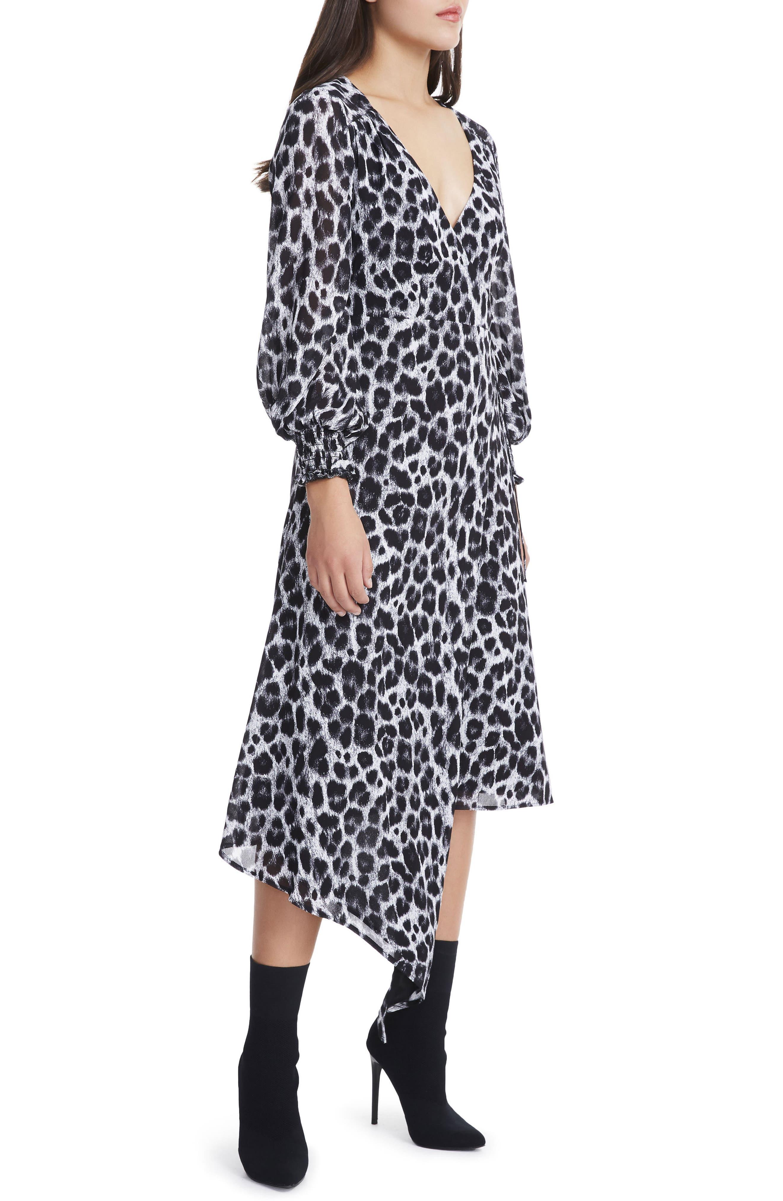 Amalfi Lantern Wrap Dress,                             Alternate thumbnail 4, color,                             Grey Leopard
