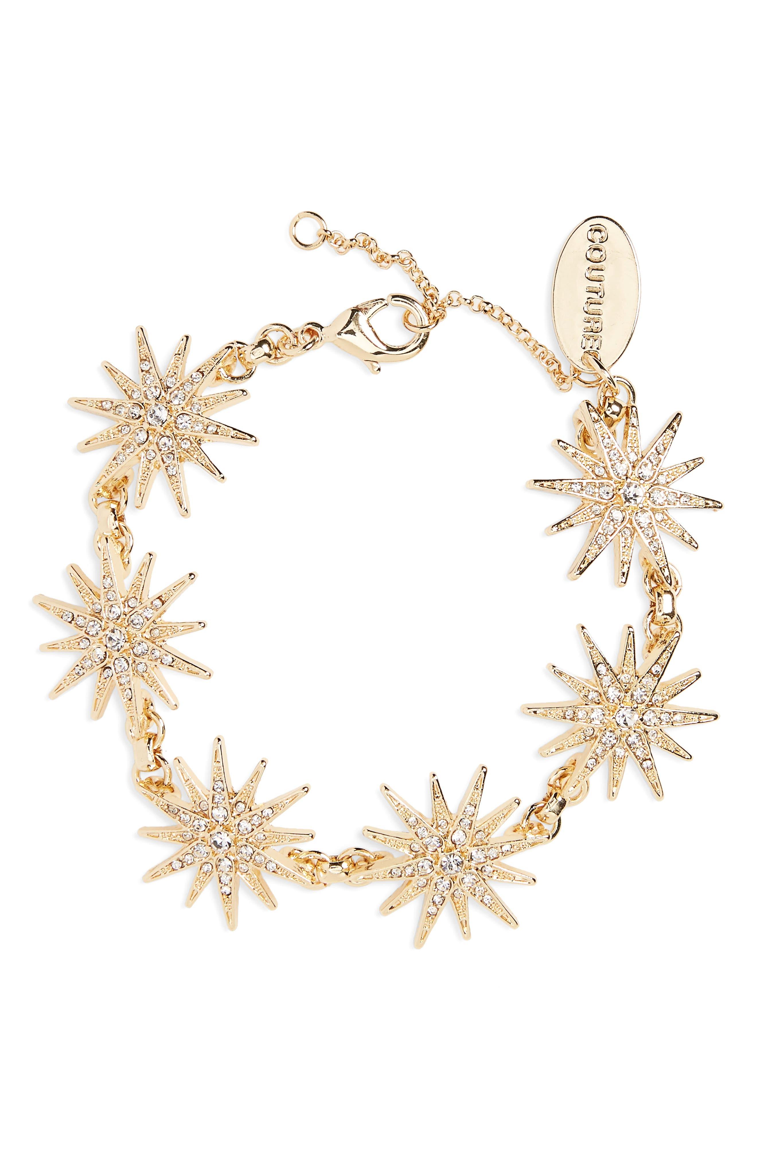 Crystal Star Bracelet,                         Main,                         color, Gold/ Crystal