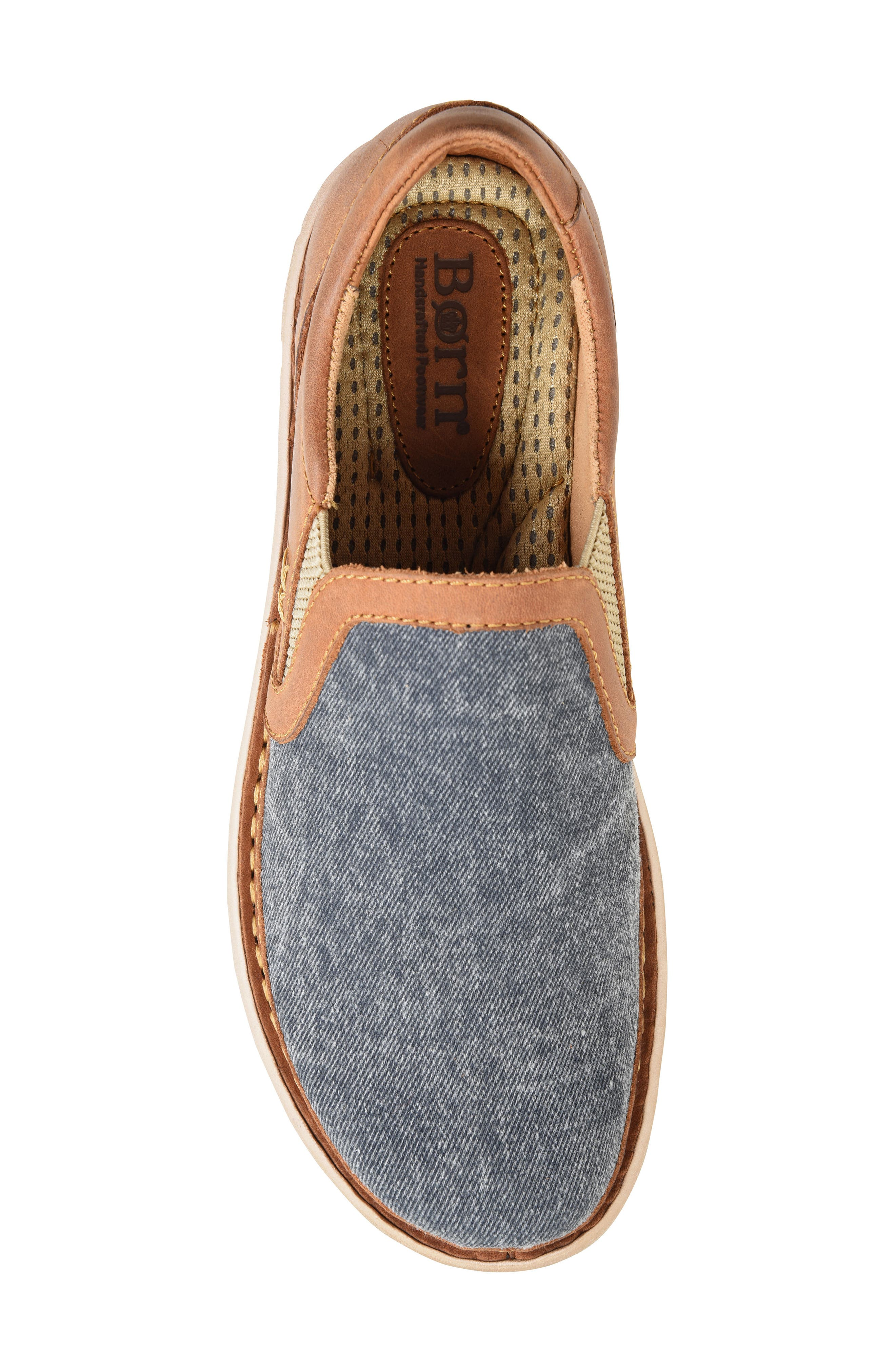 'Sawyer' Leather Slip-On,                             Alternate thumbnail 4, color,                             Navy/ Light Brown Canvas