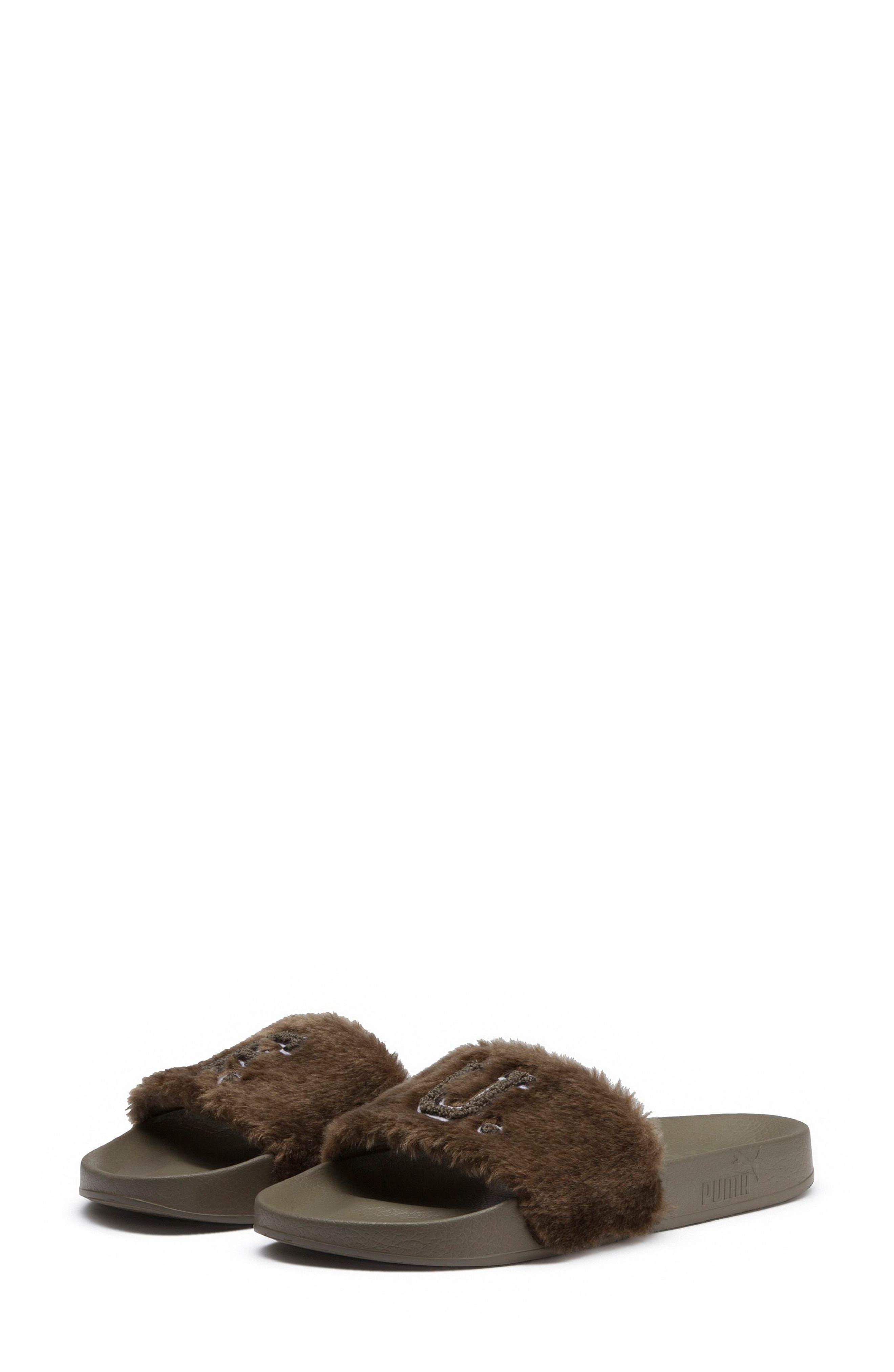 FENTY PUMA by Rihanna Lead Cat Slide Sandals,                             Alternate thumbnail 2, color,                             Burnt Olive - Puma Black