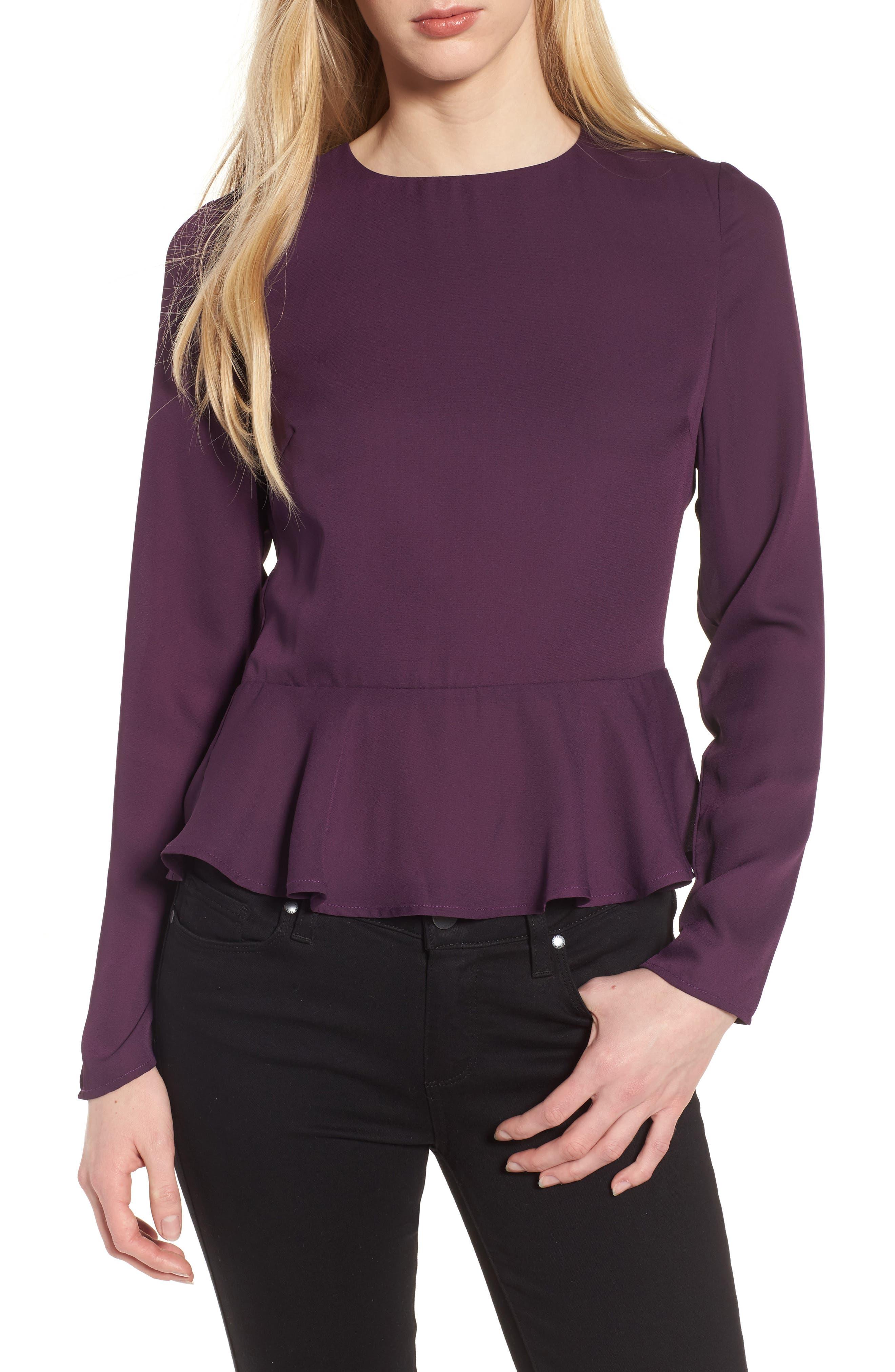 Peplum Top,                         Main,                         color, Purple