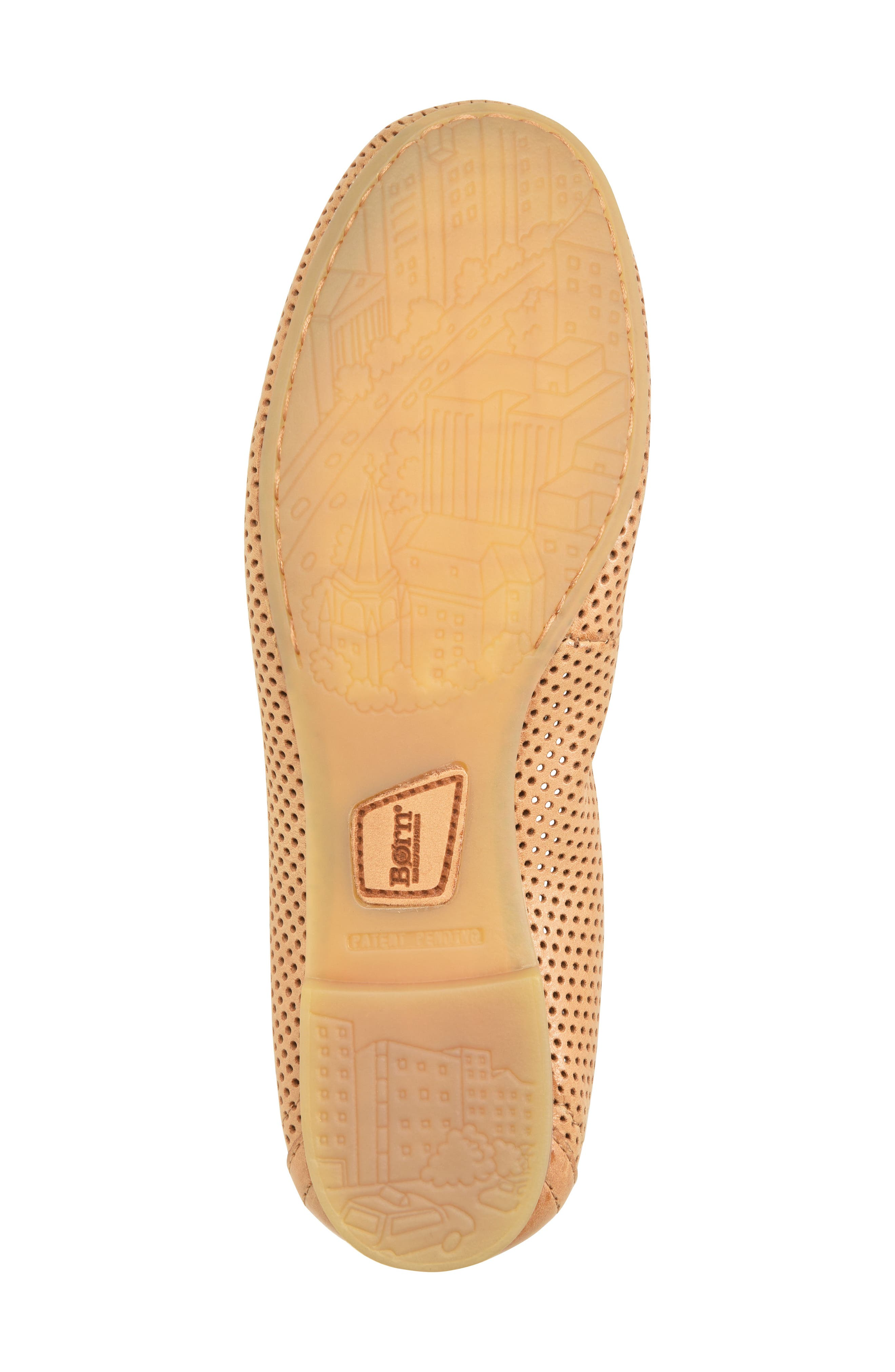 Julianne Perforated Flat,                             Alternate thumbnail 6, color,                             Tan Leather