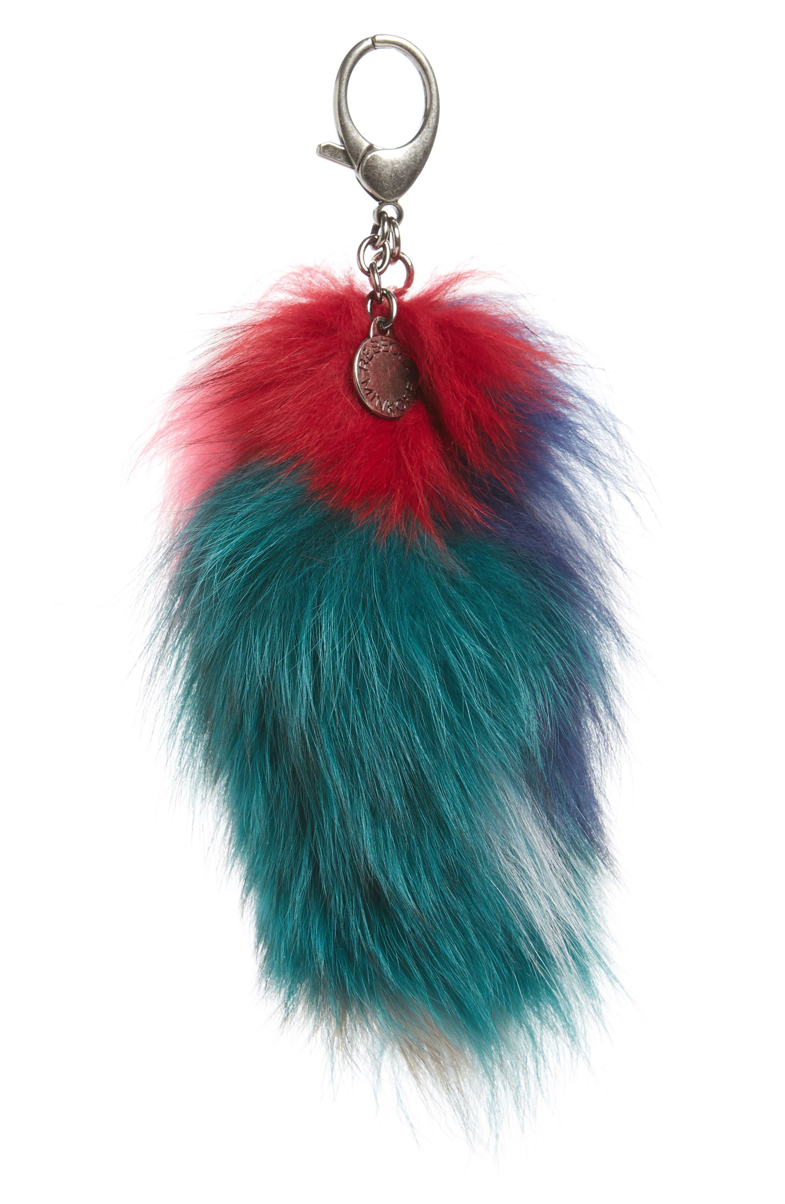 Genuine Fox Tail Fur Bag Charm,                         Main,                         color, Bright Multi