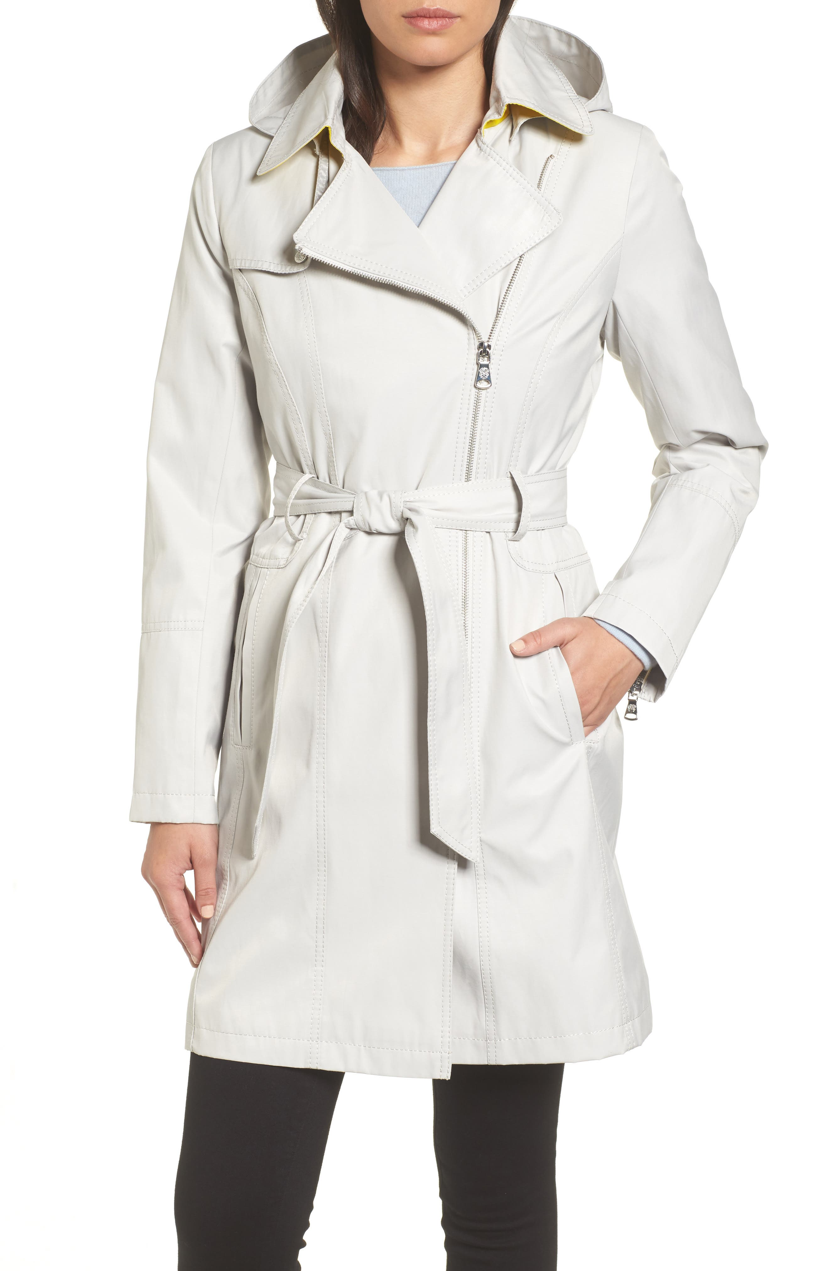 Belted Asymmetrical Trench Coat,                             Main thumbnail 1, color,                             Feather