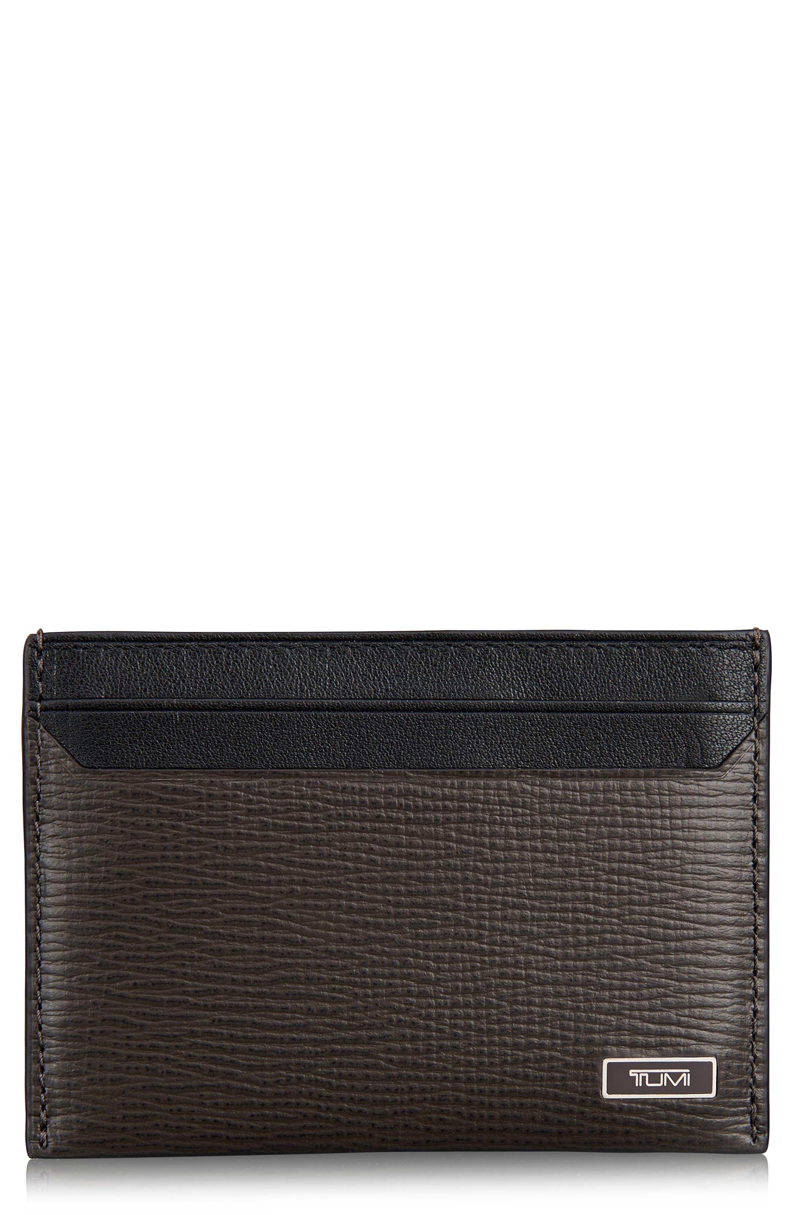 Monaco Leather Card Case,                         Main,                         color, Taupe