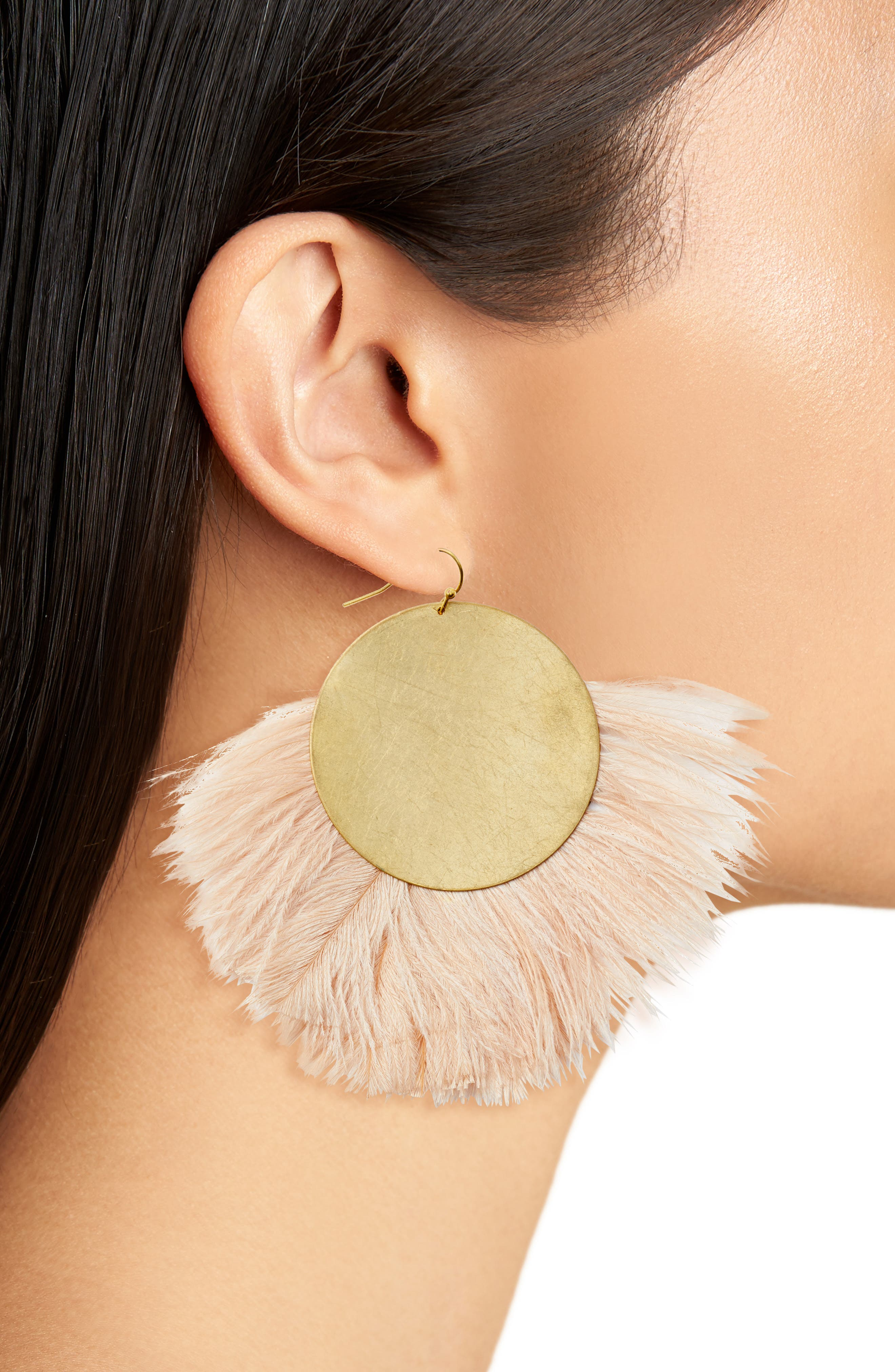 Feather Disc Earrings,                             Alternate thumbnail 2, color,                             Blush/ Gold